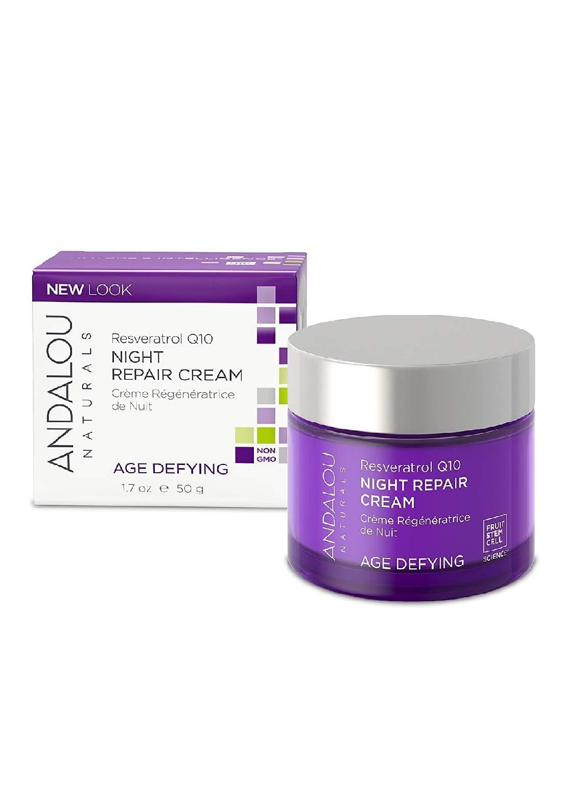Andalou 2317 Naturals Night Repair Cream Age Defying Resveratrol Q10 كريم للوجه