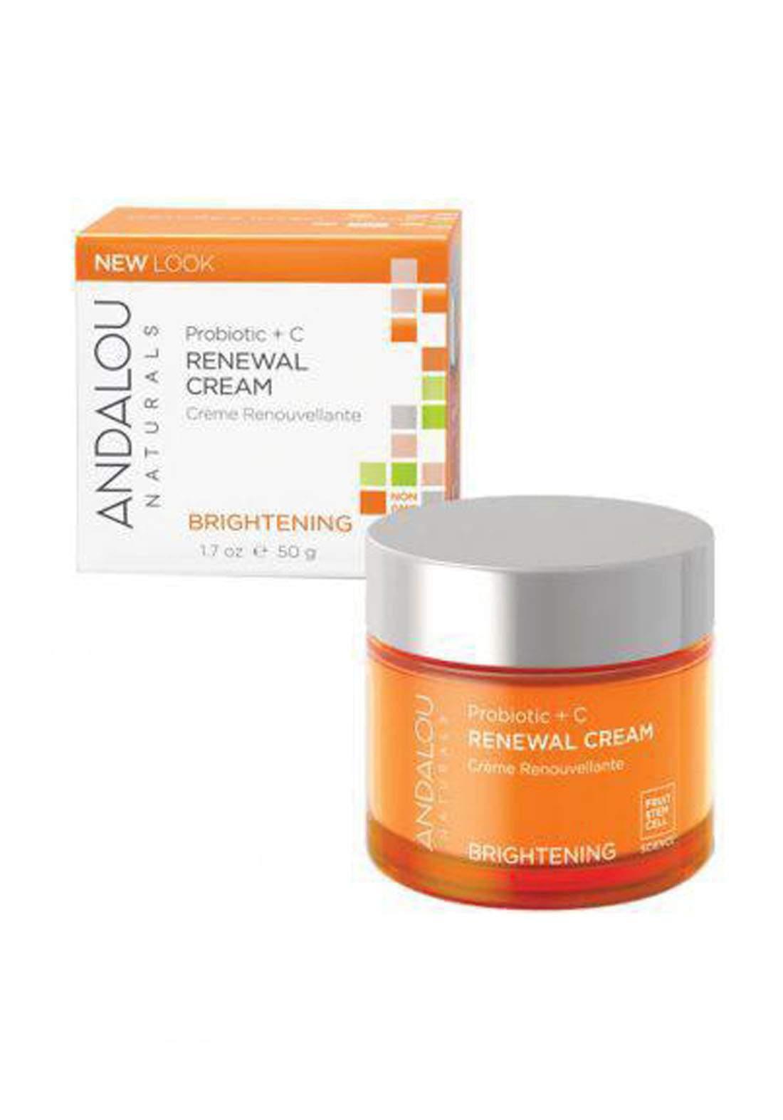 Andalou 2300 Naturals Renewal Cream Brightening Probiotic + C 50 g كريم تفتيح للوجه