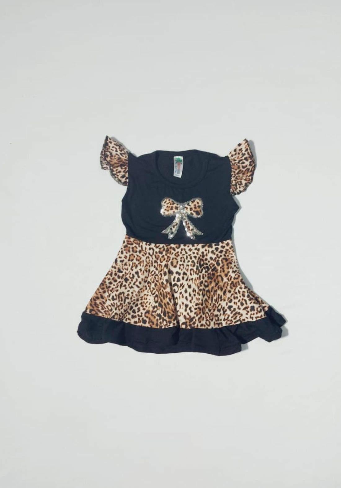 فستان بناتي لون اسود ونمري