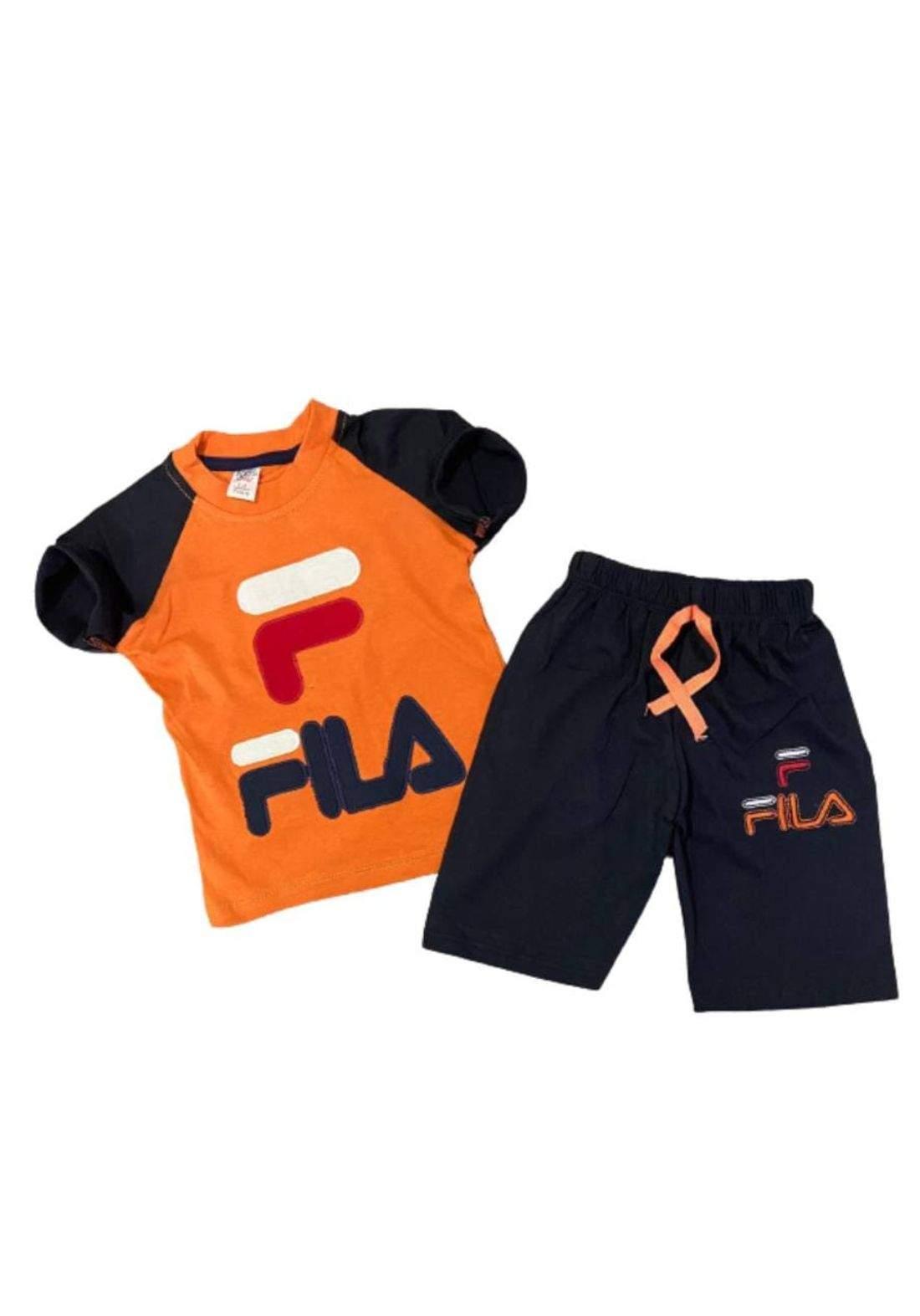 tracksuit for boys orange (t-shirt+short) ( تراكسوت ولادي برتقالي (شورت و تيشيرت