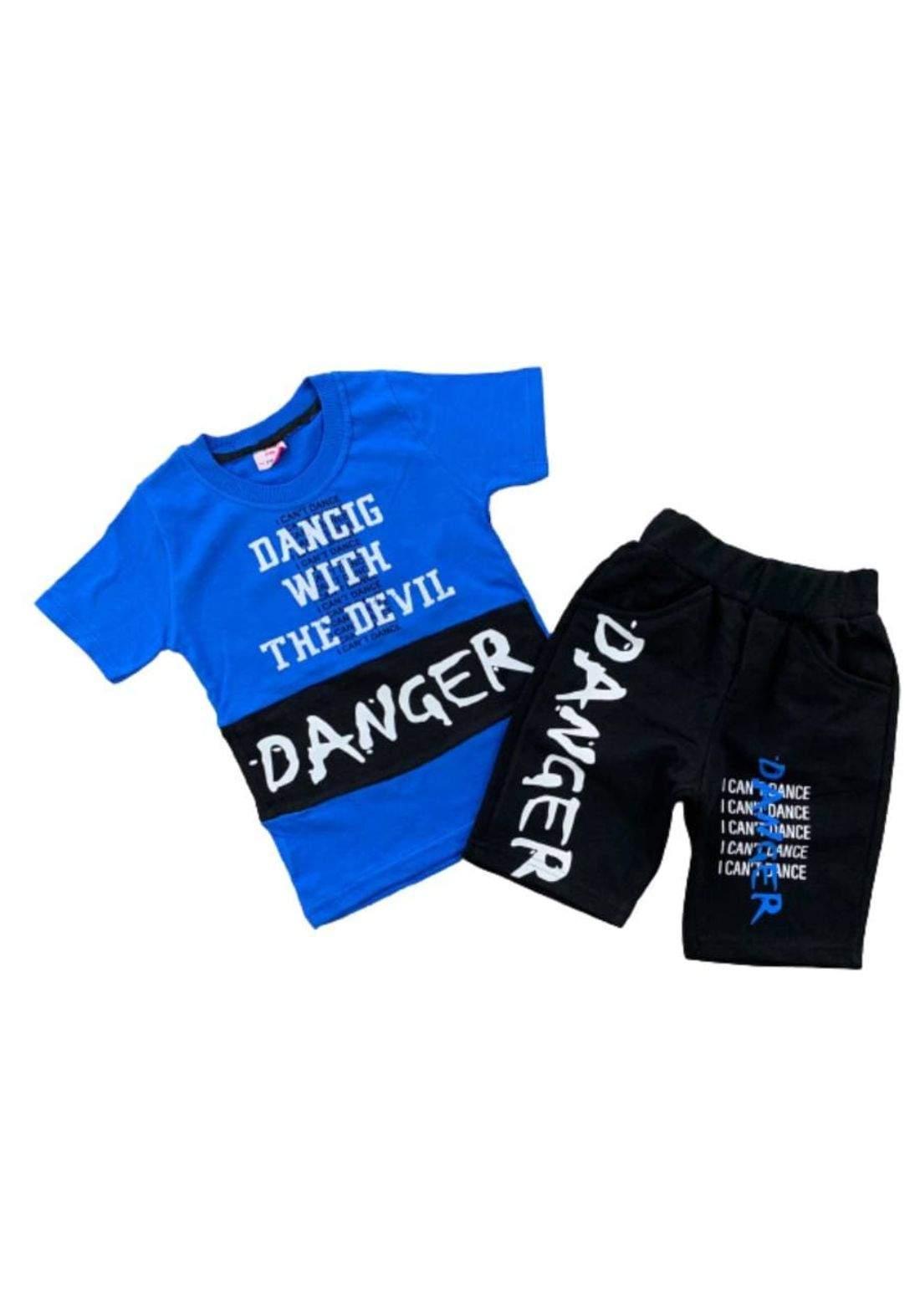 tracksuit for boys blue  (t-shirt+short) ( تراكسوت ولادي ازرق  (شورت و تيشيرت