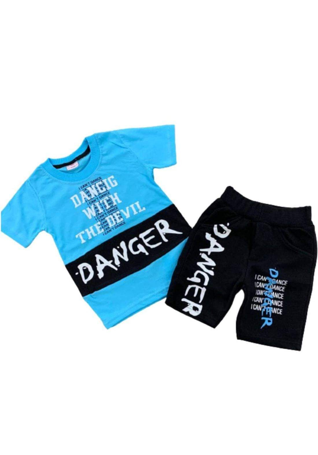 tracksuit for boys blue  (t-shirt+short) ( تراكسوت ولادي سمائي  (شورت و تيشيرت