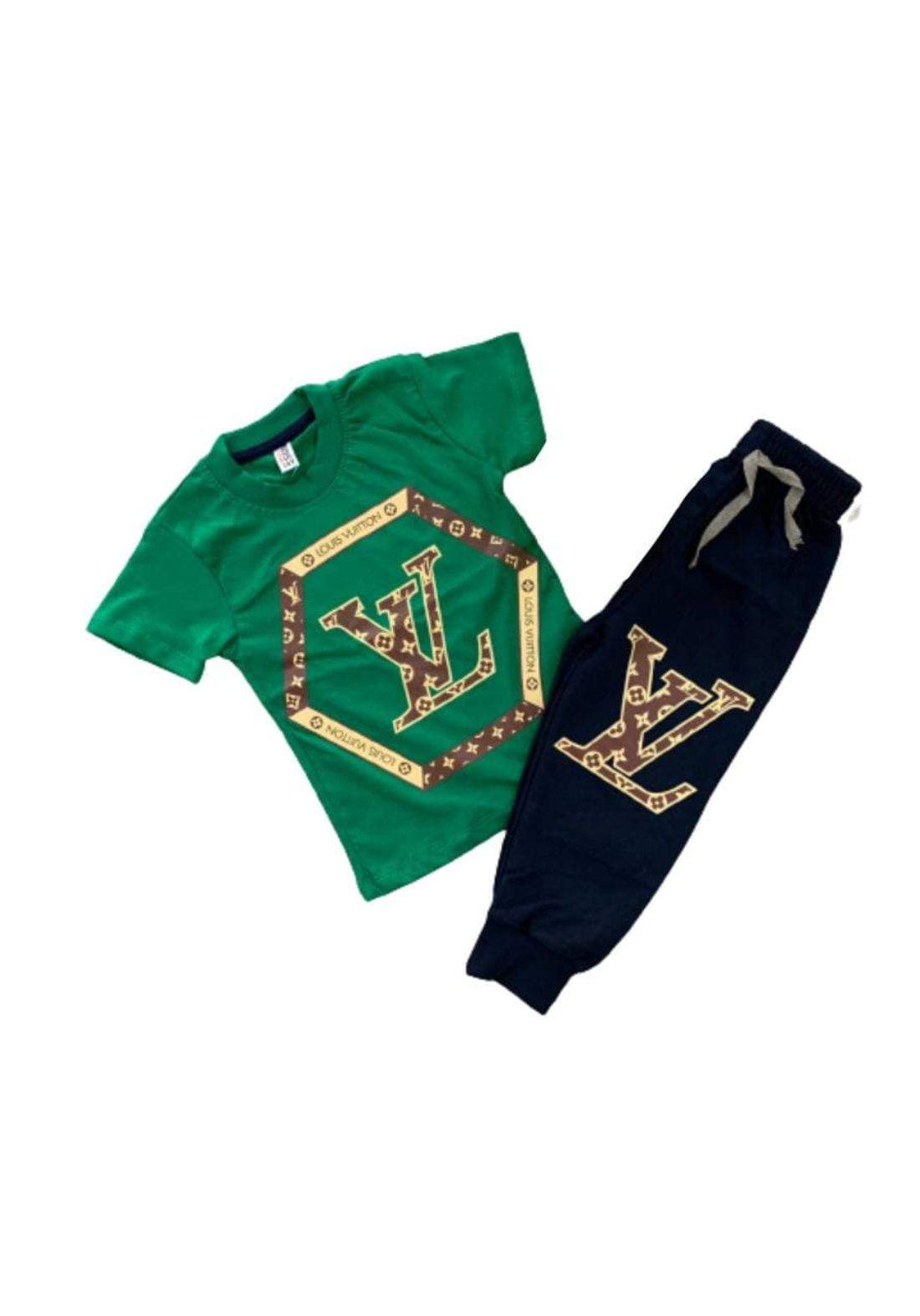 tracksuit for kids green (t-shirt+pijamas) ( تراكسوت اطفال خضر (بجامةو تيشيرت
