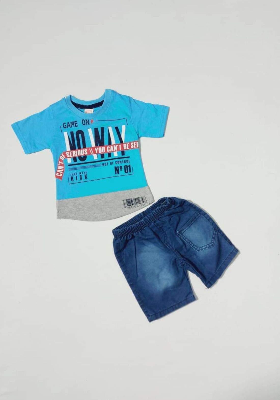 Boys' outfit  blue (shirt and short )(طقم ولادي سمائي (تيشيرت وشورت