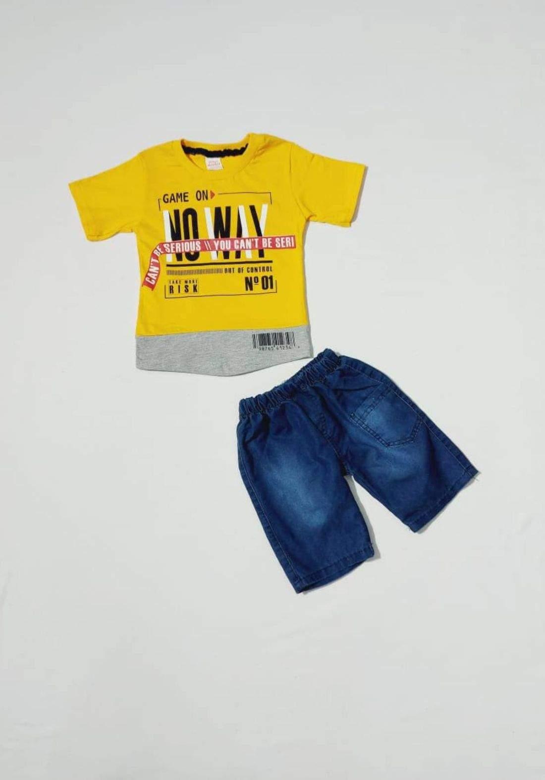 Boys' outfit yellow  (shirt and short )(طقم ولادي اصفر (تيشيرت وشورت