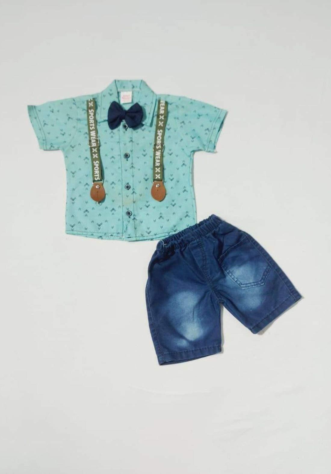 Boys' outfit green (shirt and short )(طقم ولادي تركوازي  (قميص وشورت