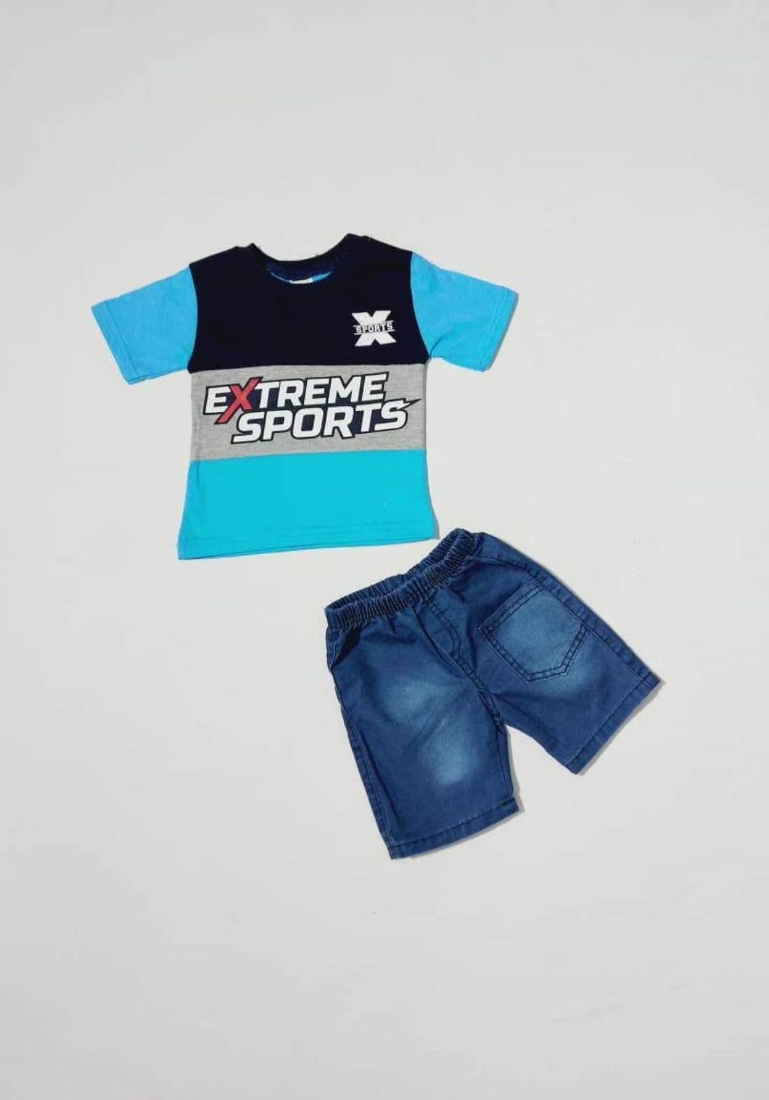Boys' outfit blue (shirt and short) طقم ولادي سمائي (قميص وشورت )
