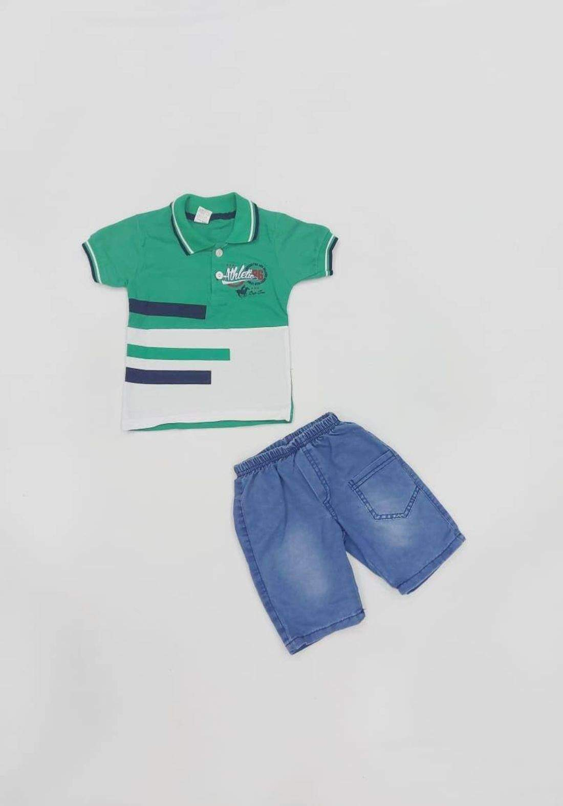 طقم ولادي اخضر (قميص وشورت )