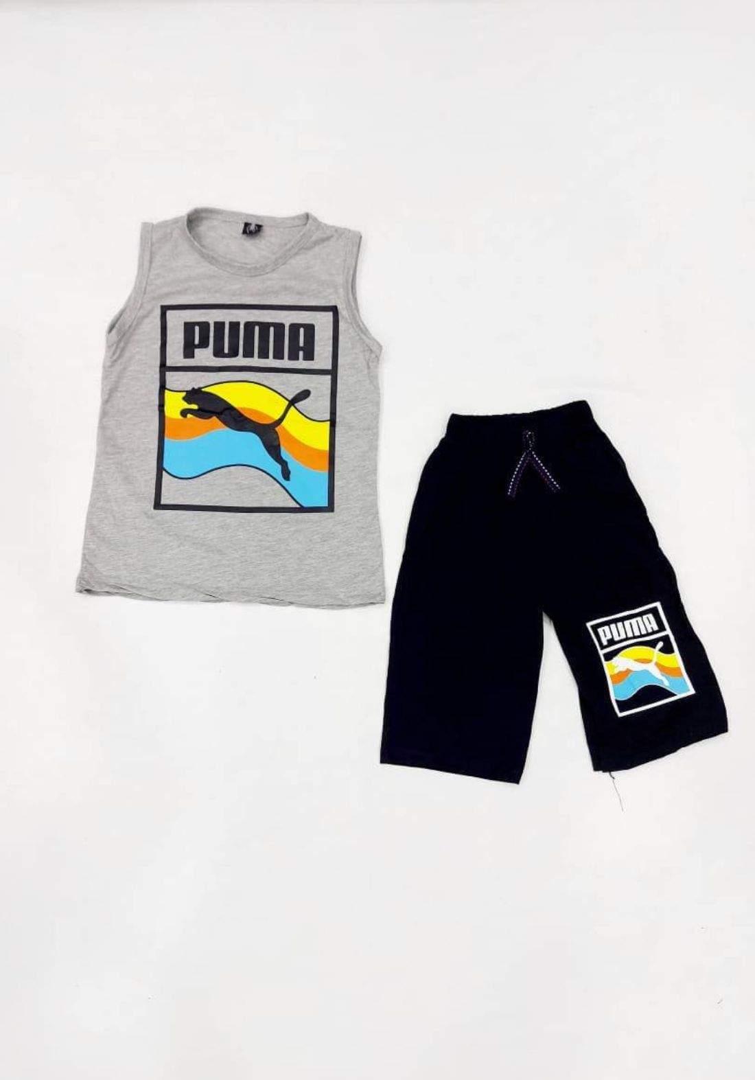 tracksuit for boys grey  (t-shirt +short) ( تراكسوت ولادي رصاصي   (برمودهوكيمونه