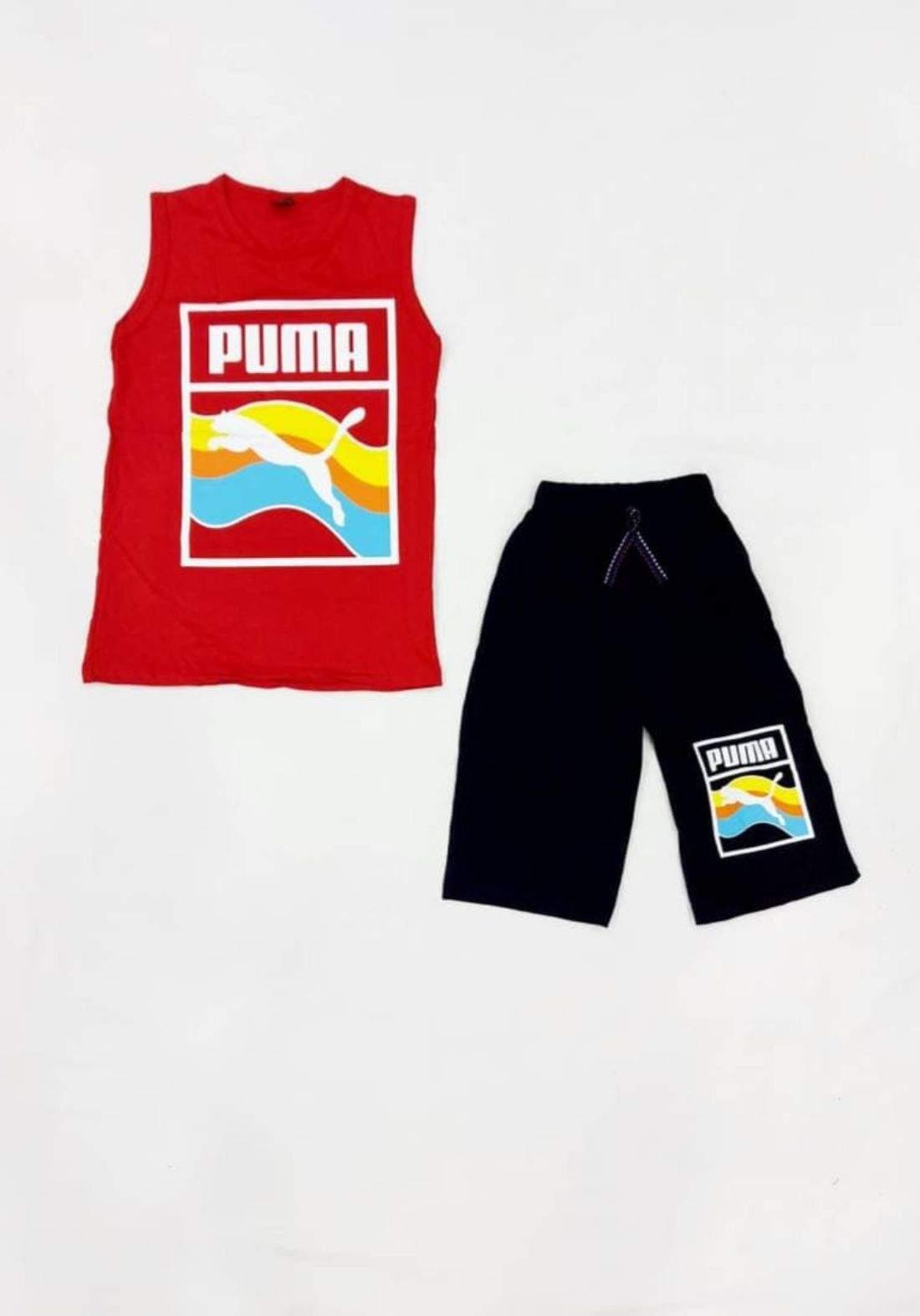 tracksuit for boys red (t-shirt +short) ( تراكسوت ولادي احمر  (برموده وكيمونه