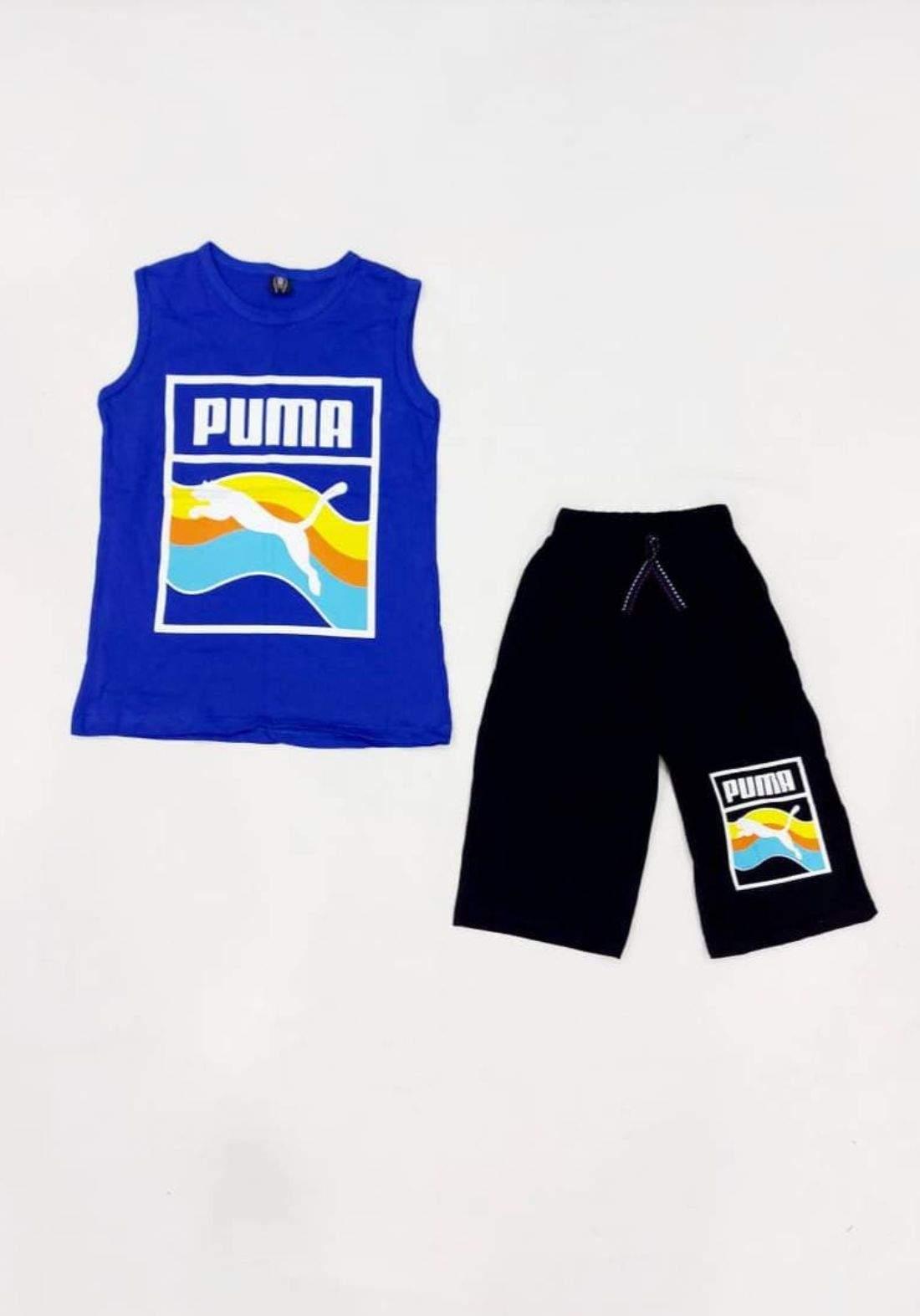 tracksuit for boys blue  (t-shirt +short) ( تراكسوت ولادي ازرق (برموده وكيمونه
