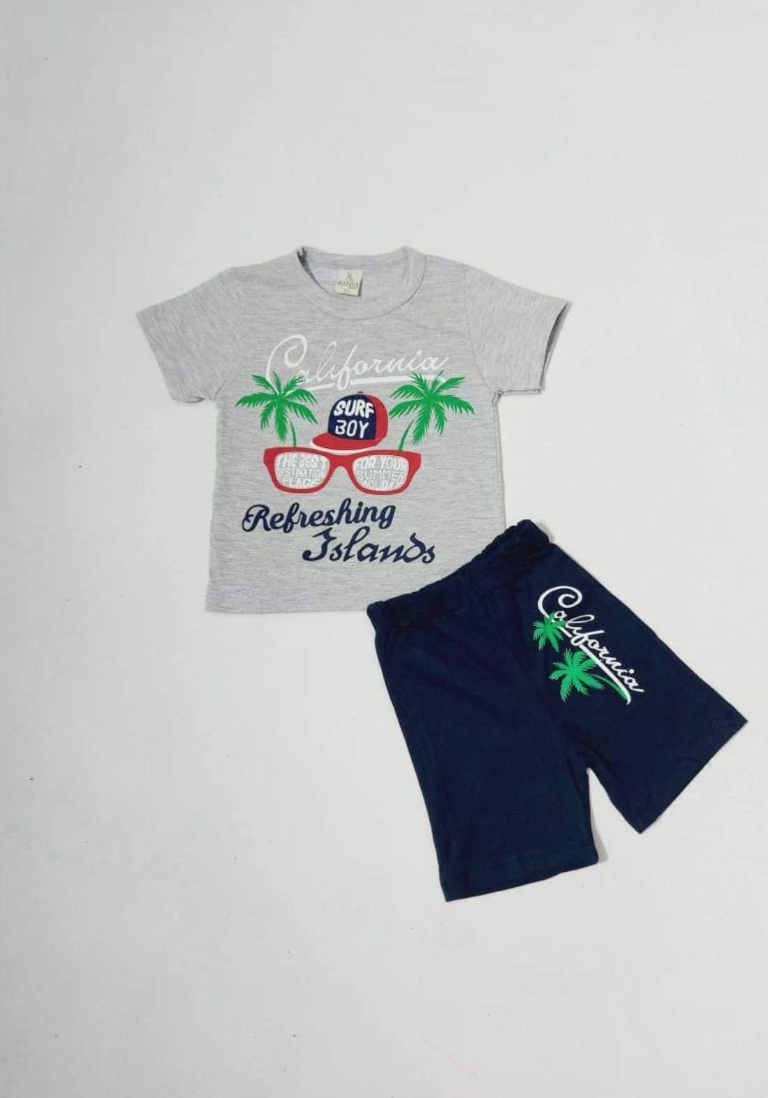tracksuit for kids grey (t-shirt+short) ( تراكسوت اطفال رصاصي  (شورت و تيشيرت