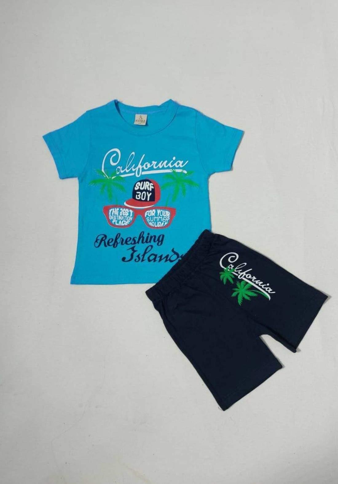 tracksuit for kids blue (t-shirt+short) ( تراكسوت اطفال سمائي  (شورت و تيشيرت