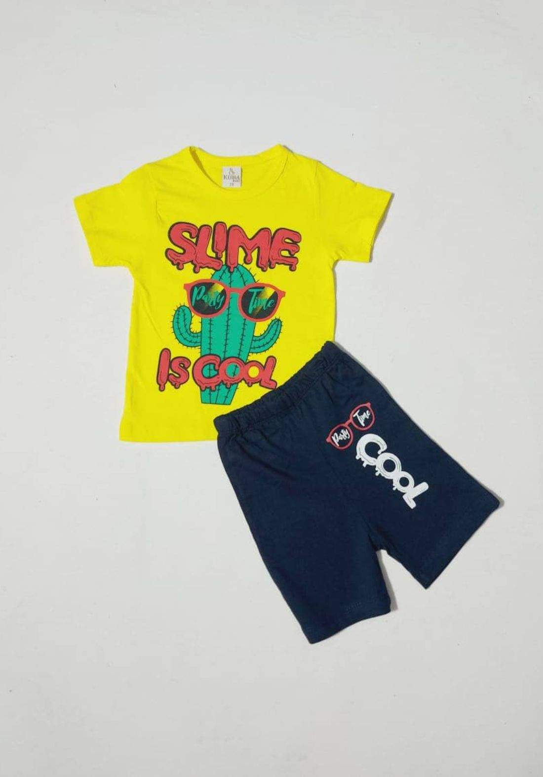 tracksuit for kids yellow (t-shirt+short) ( تراكسوت اطفال  اصفر (شورت و تيشيرت