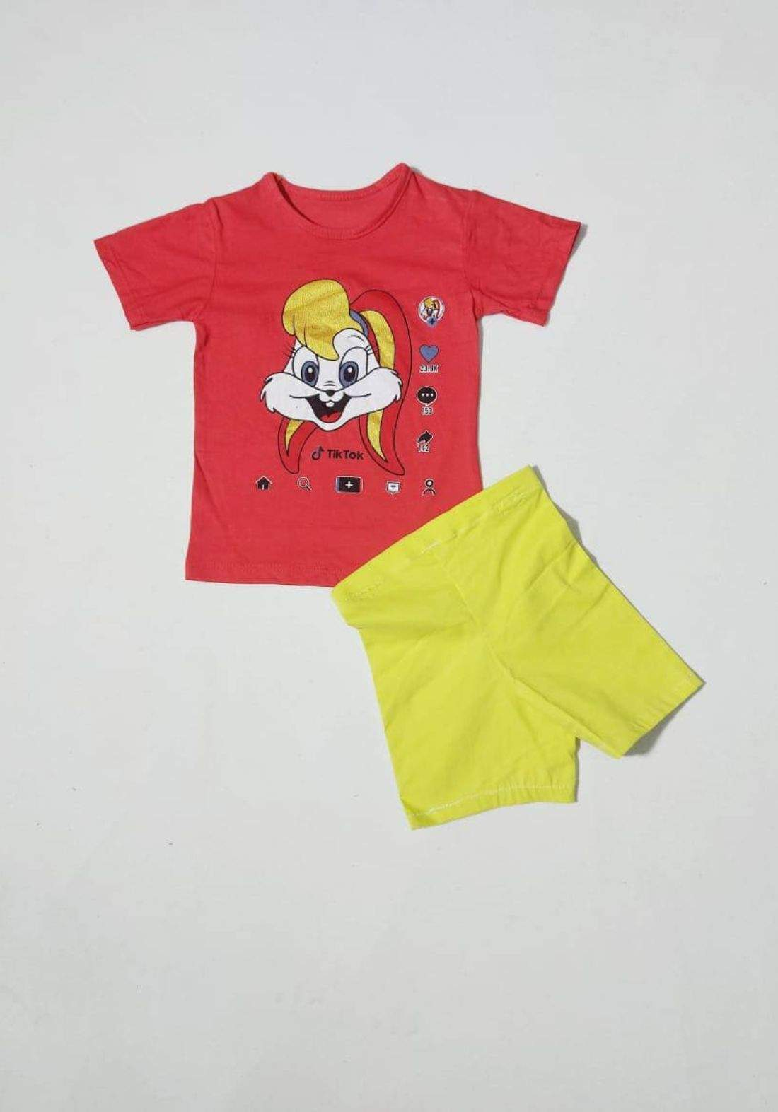 tracksuit for girls red  (t-shirt+short) ( تراكسوت بناتي احمر (شورت و تيشيرت