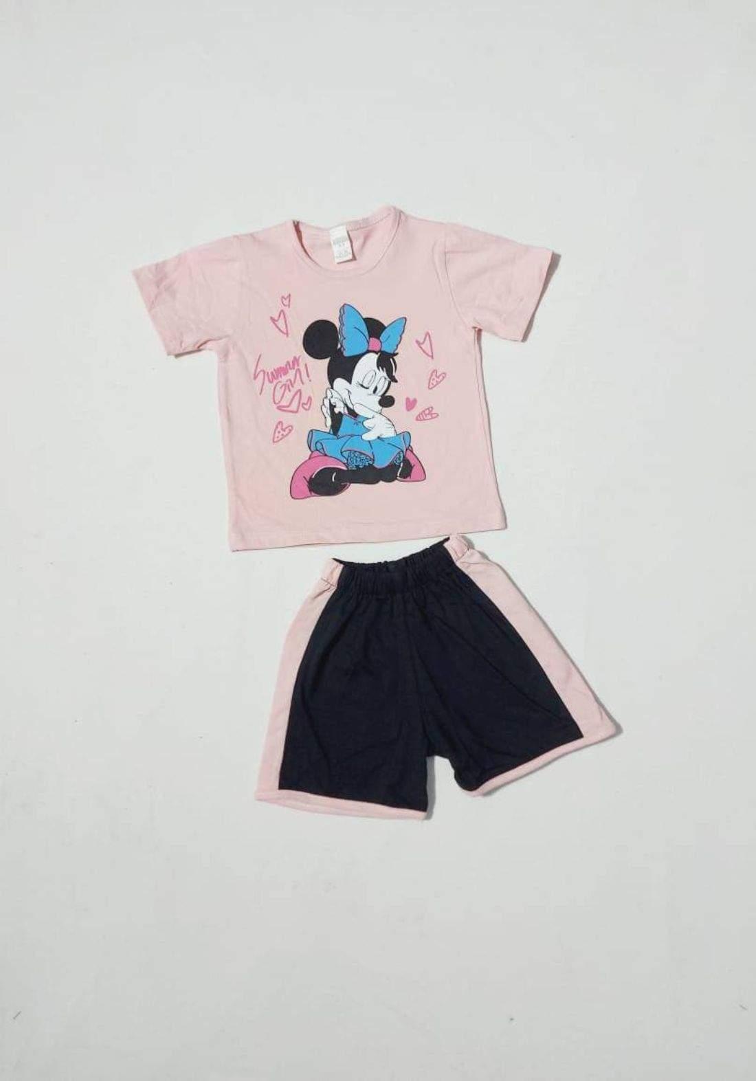 tracksuit for girls pink  (t-shirt+short) ( تراكسوت بناتي  وردي (شورت و تيشيرت