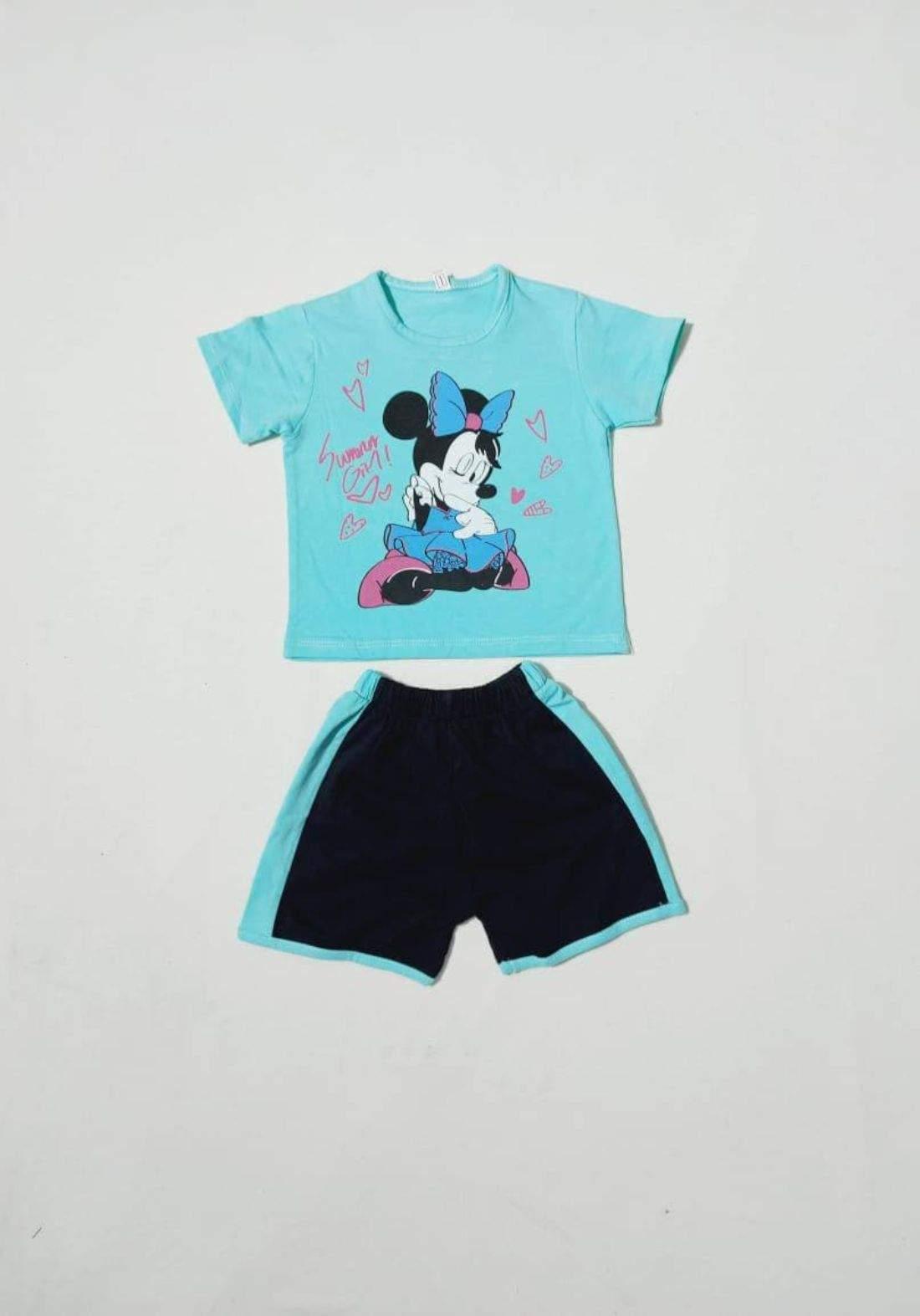 tracksuit for girls blue  (t-shirt+short) ( تراكسوت بناتي  تركوازي  (شورت و تيشيرت