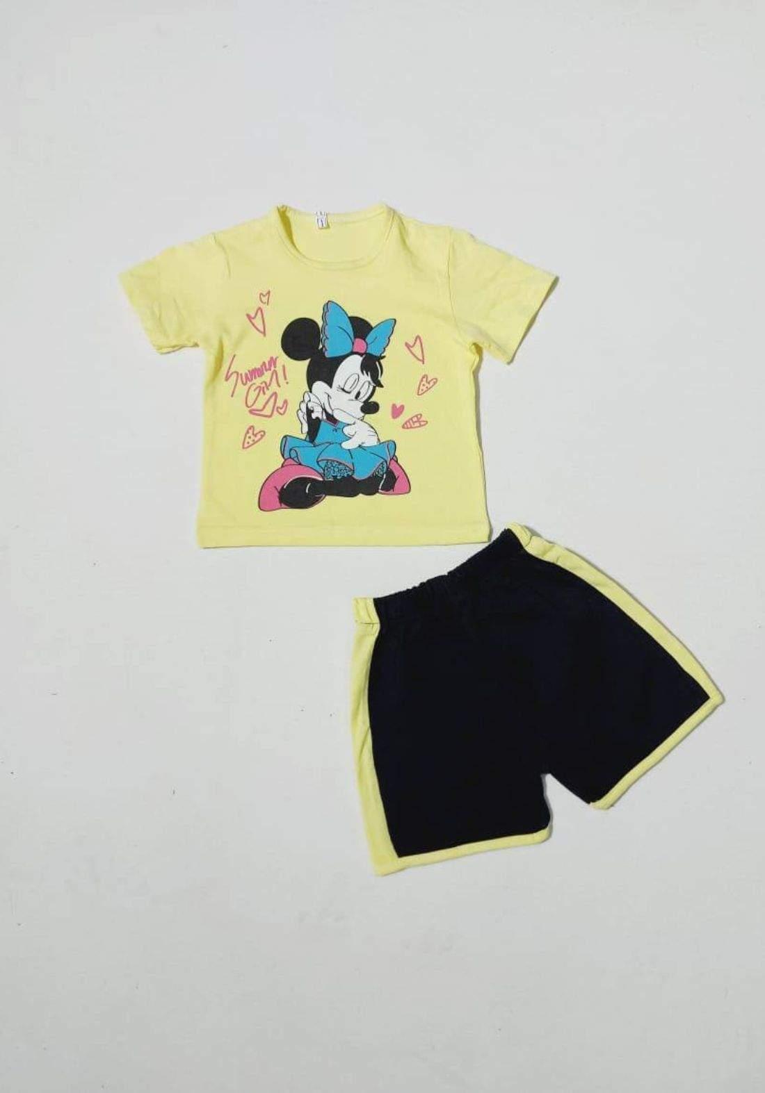 tracksuit for girls  yellow (t-shirt+short) ( تراكسوت بناتي  اصفر (شورت و تيشيرت