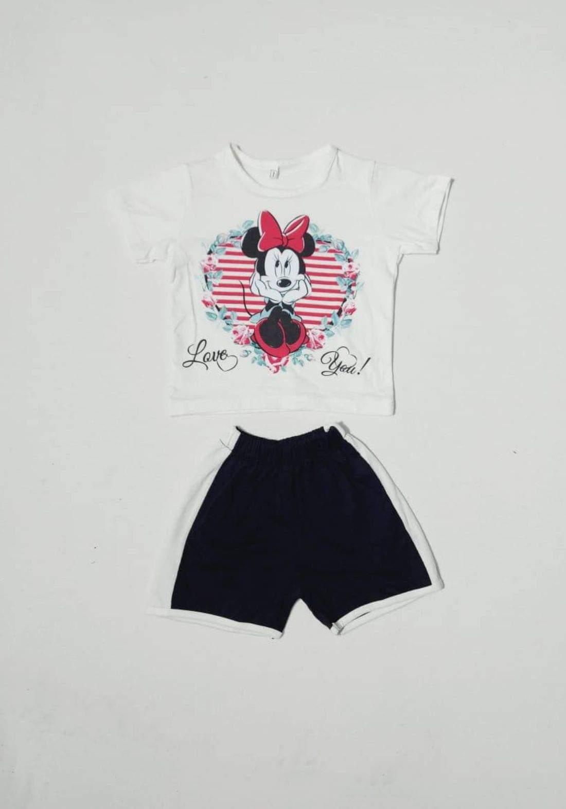 tracksuit for girls  white (t-shirt+short) ( تراكسوت بناتي ابيض  (شورت و تيشيرت