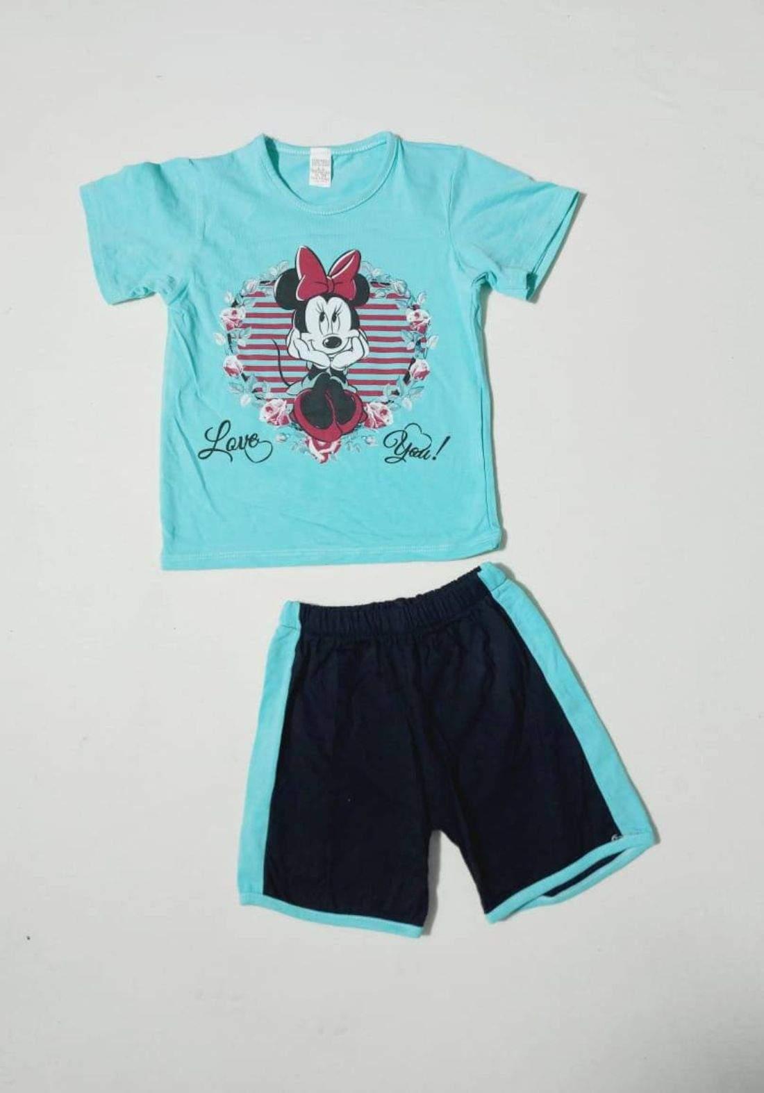 tracksuit for girls  green (t-shirt+short) ( تراكسوت بناتي تركوازي  (شورت و تيشيرت