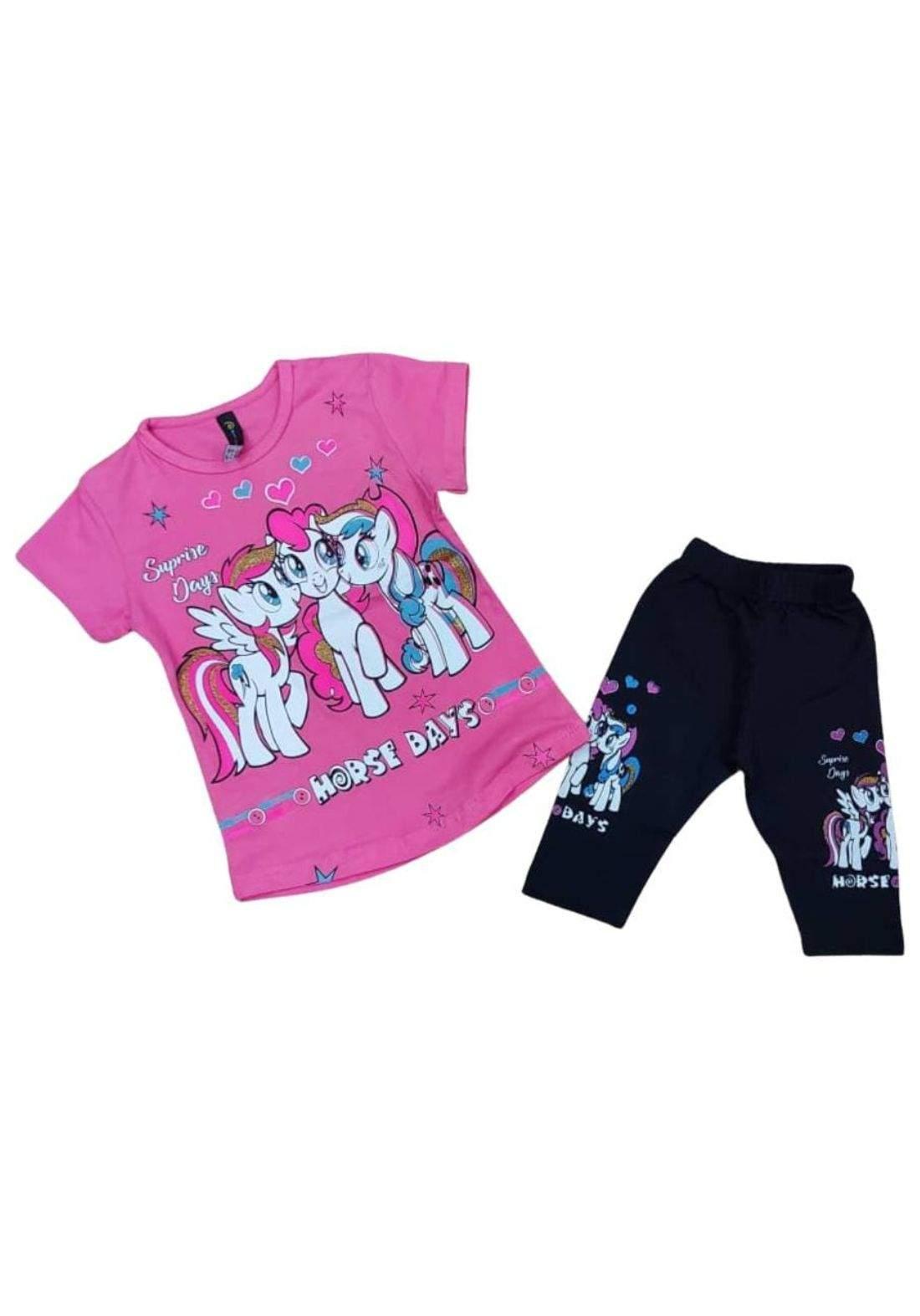 Tracksuit for girls Pink (T-shirt +short) ( تراكسوت  وردي (برموده وتيشيرت