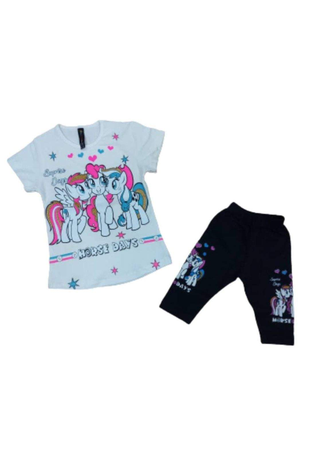 Tracksuit for girls white  (T-shirt +short) ( تراكسوت ابيض (برموده وتيشيرت