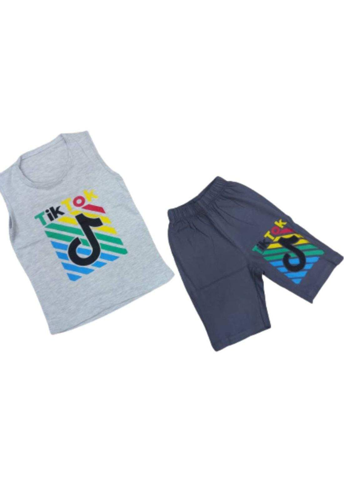 tracksuit for boys  grey(shirt +short) ( تراكسوت ولادي رمادي (برموده وكيمونه