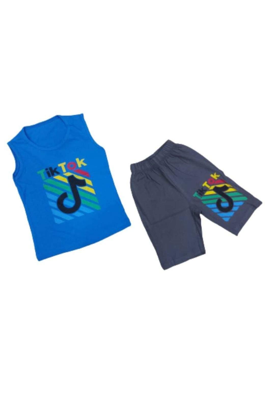 tracksuit for boys blue(shirt +short) ( تراكسوت ولادي ازرق (برموده وكيمونه