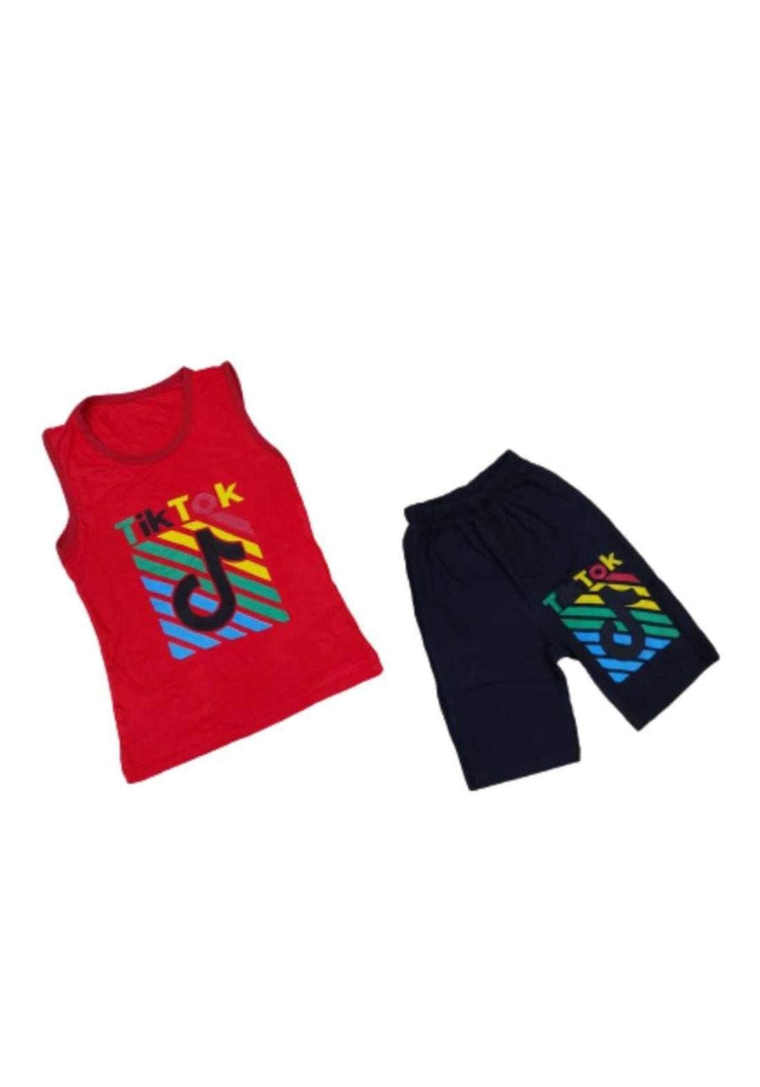 tracksuit for boys red  (shirt +short) ( تراكسوت ولادي احمر (برموده وكيمونه