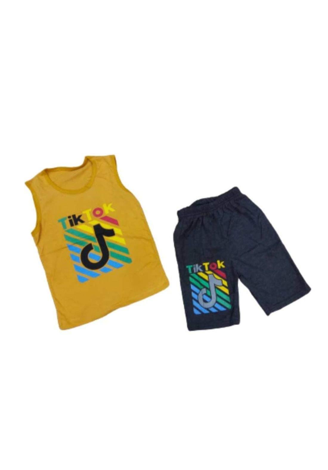 tracksuit for boys yellow (shirt +short) ( تراكسوت ولادي اصفر (برموده وكيمونه