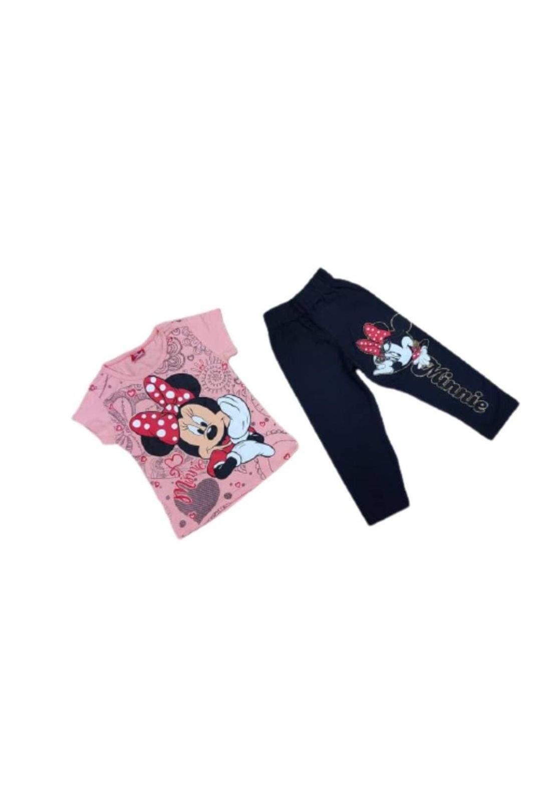 Tracksuit for girls pink  (t-shirt+pijamas) تراكسوت بناتي وردي (بجامة+تيشيرت)