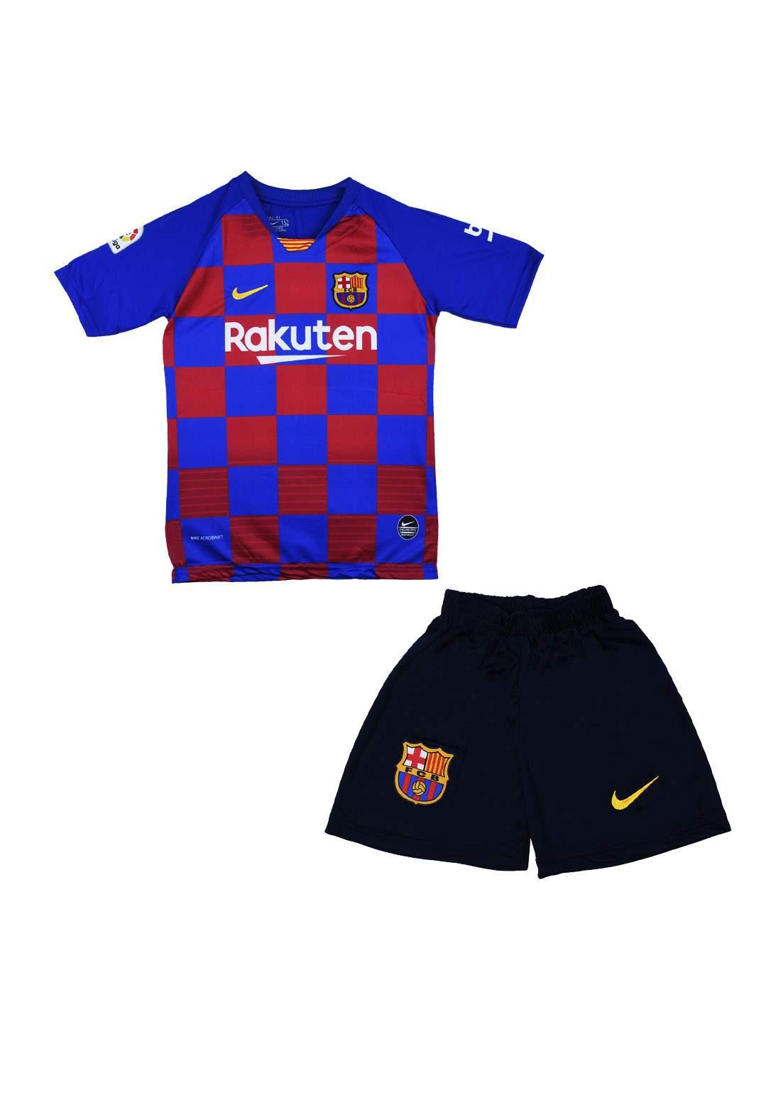 دريس رياضي ولادي فريق برشلونة ازرق اللون