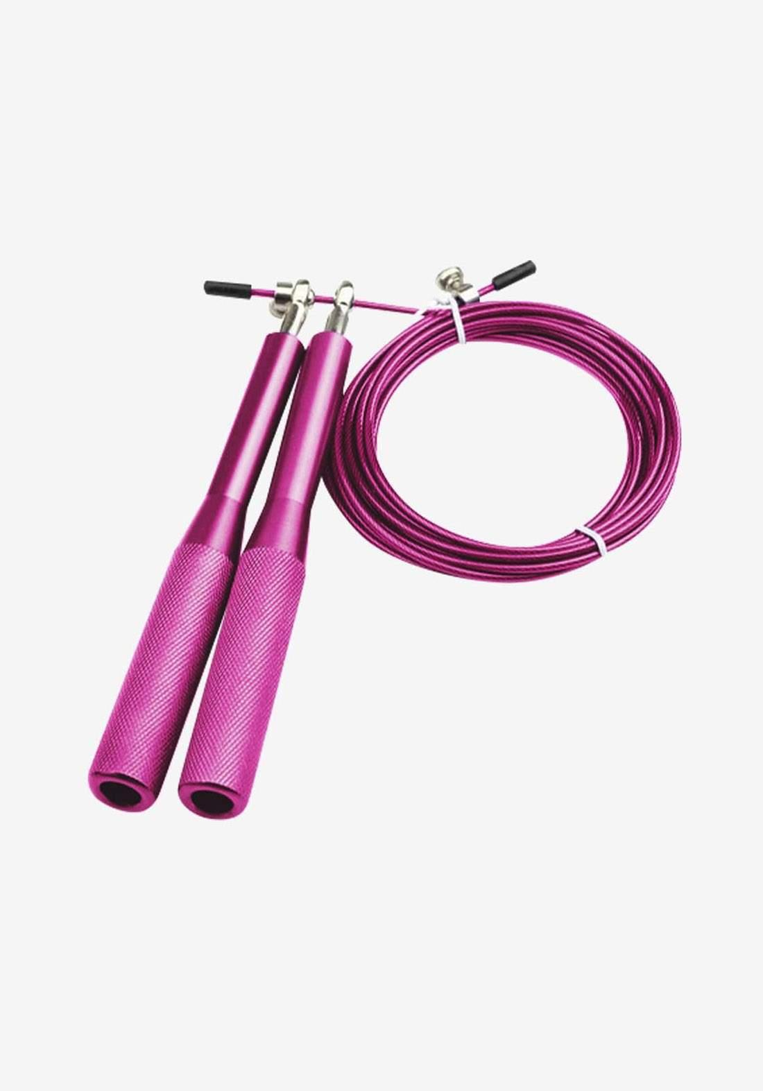 حبل رياضي وردي اللون مع مقبض مزدوج