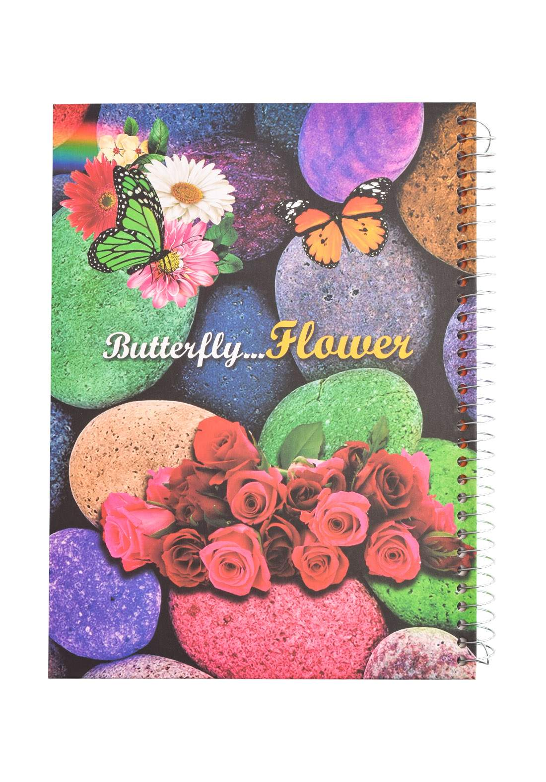 Arabic Spiral Copybook With A Drawing - Butterfly Flowers - 100 Sheets دفتر سجل 100 ورقة