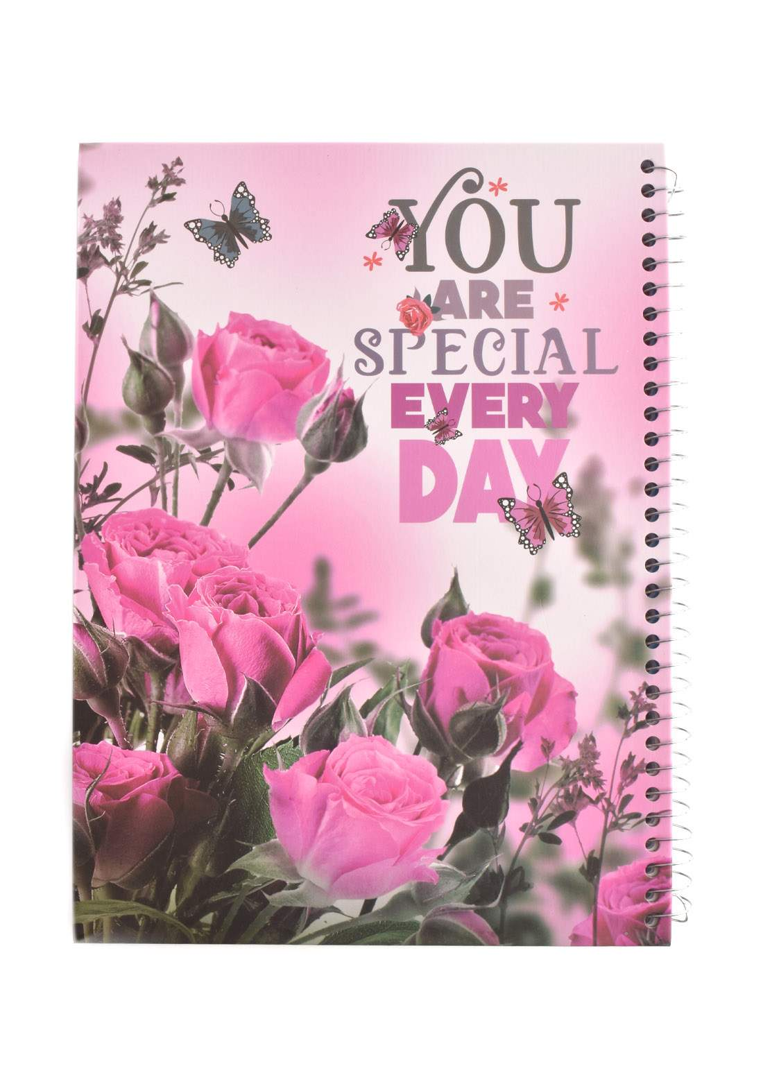Arabic Spiral Copybook With A Drawing - Pink roses with chocolate - 100 Sheets دفتر سجل 100 ورقة