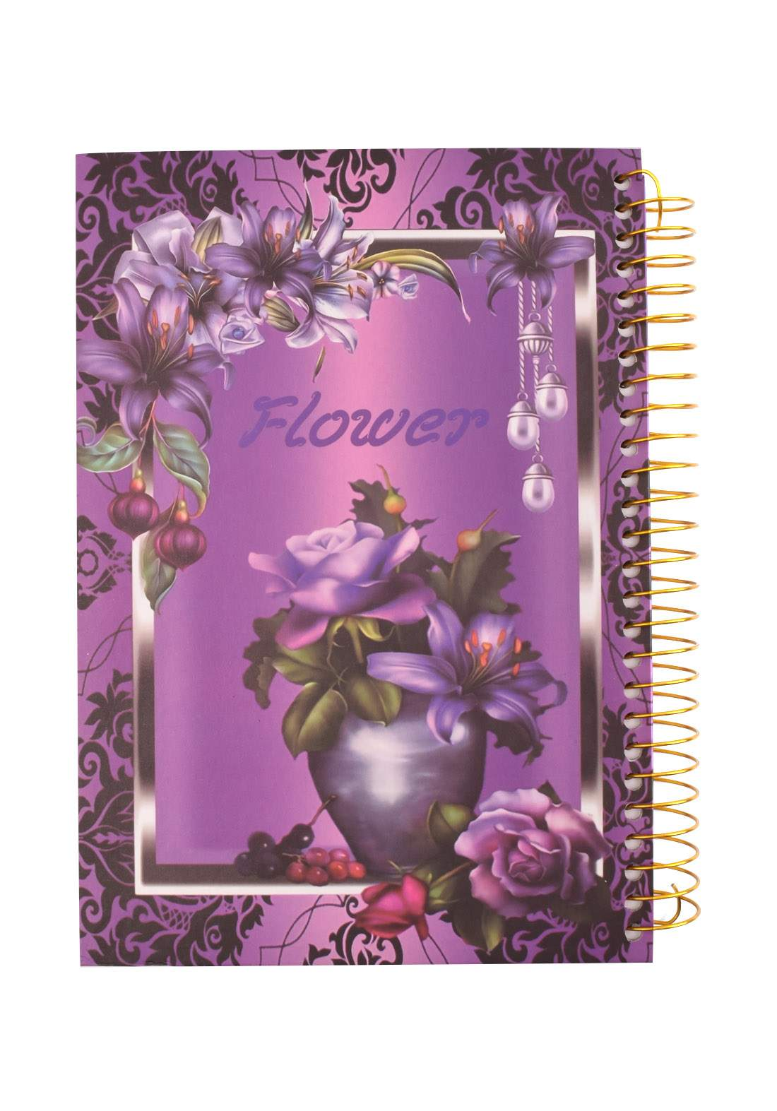 Arabic Spiral Copybook With A Drawing - Purple Flower - 96 Sheets دفتر  96 ورقة