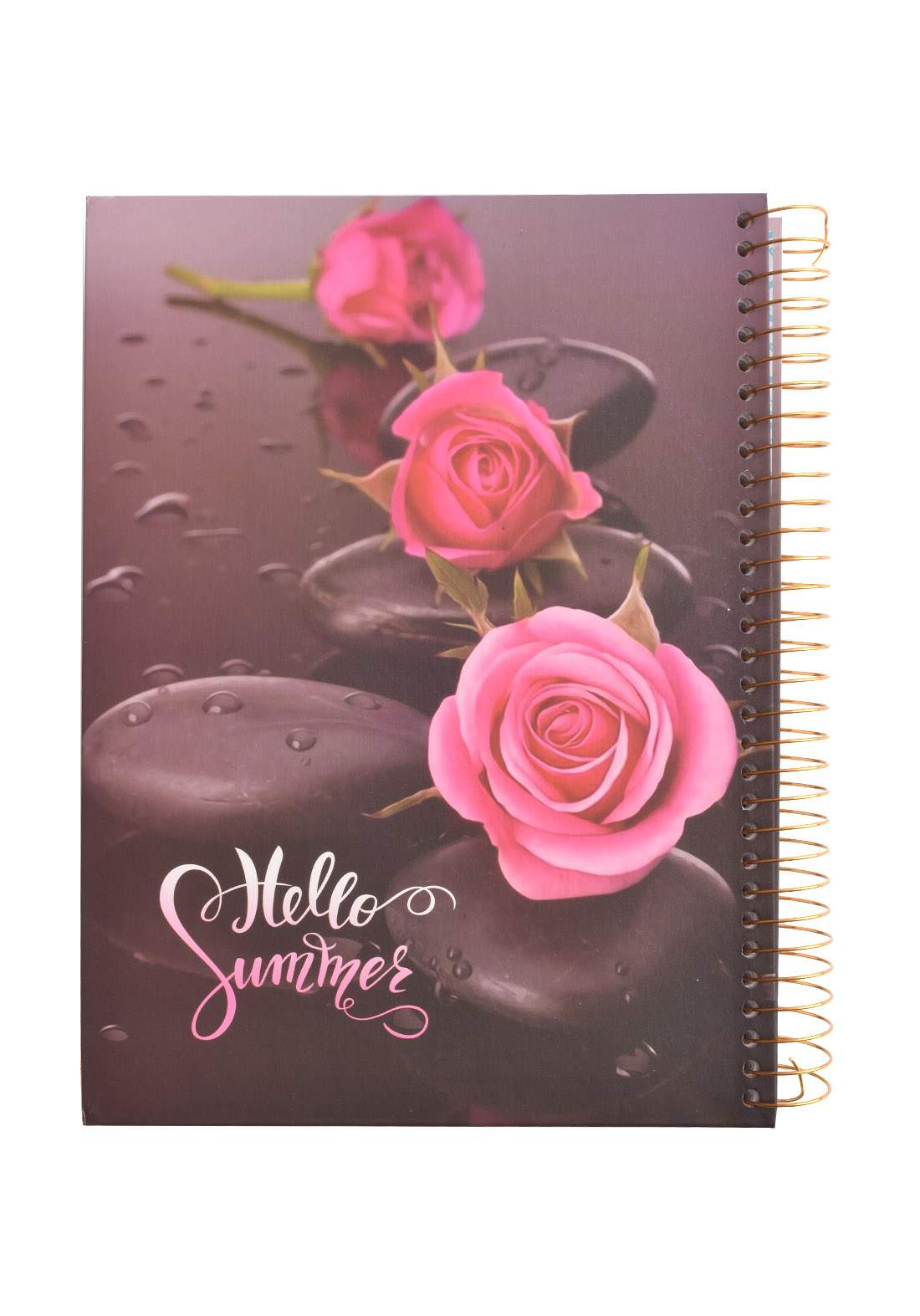 Arabic Spiral Copybook With A Drawing - Pink Flower- 96 Sheets دفتر  96 ورقة
