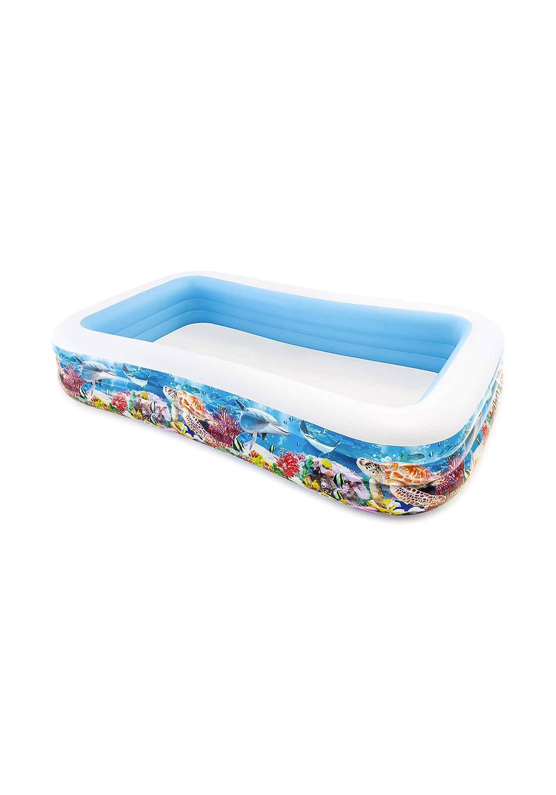 Intex 58485 Inflatable Pool Swimming Center Happy Fish Family Pool مسبح