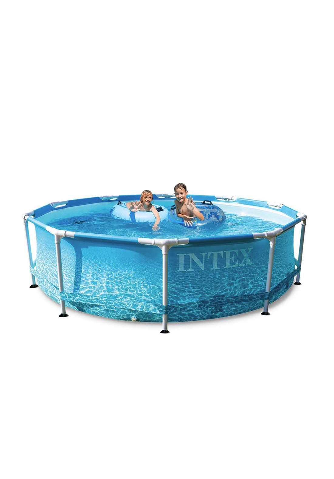 Intex 28208 Beachside Metal Frame Round Above Ground Pool مسبح