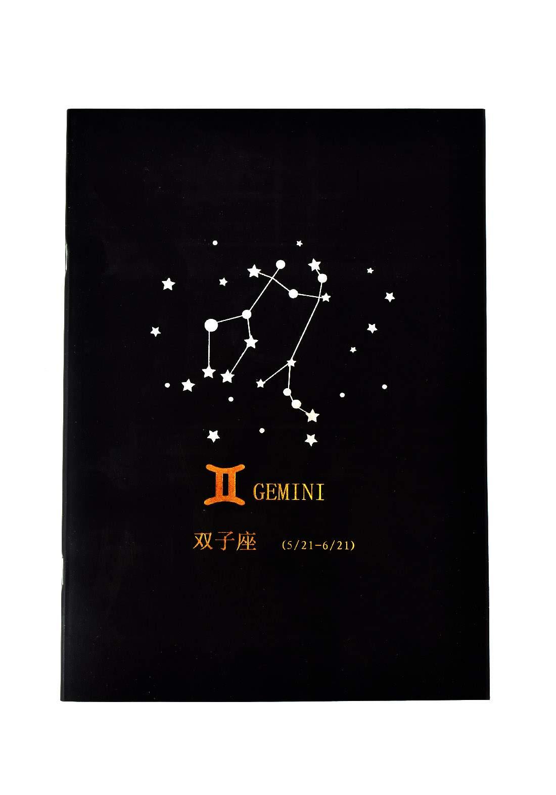 Big Black Drawing Book 24 Sheets-Gemini دفتر رسم اسود كبير بطبعة برج الجوزاء