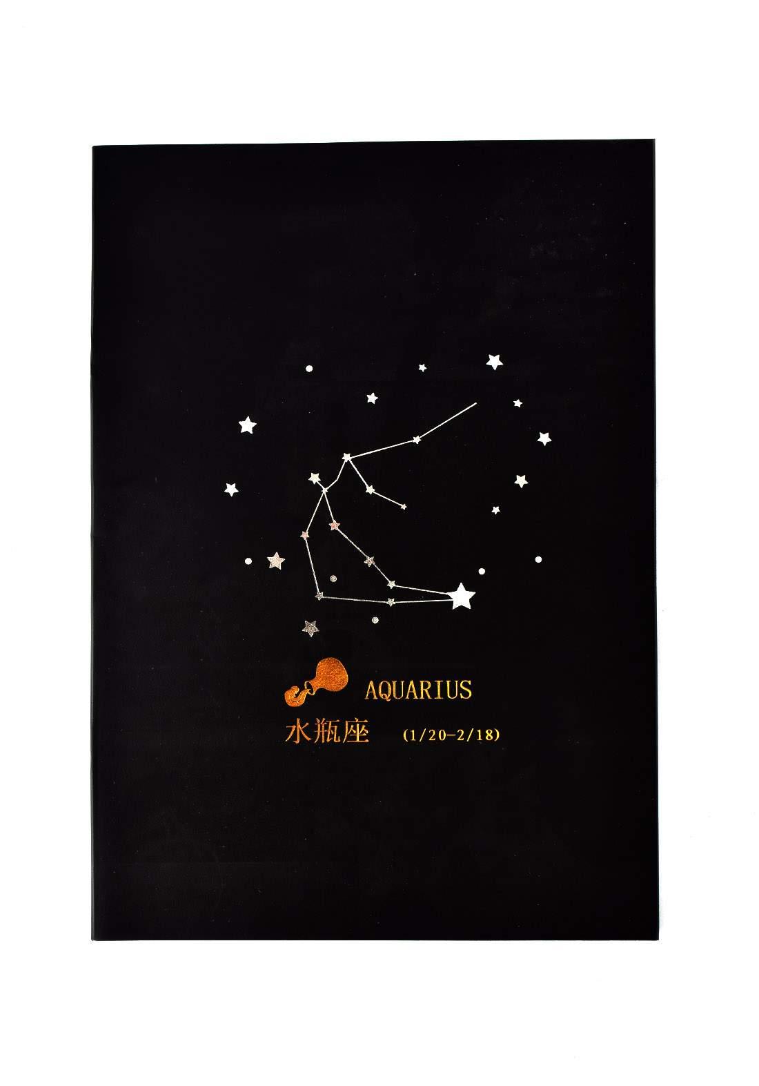 Big Black Drawing Book 24 Sheets-Aquarius دفتر رسم اسود كبير بطبعة برج الدلو