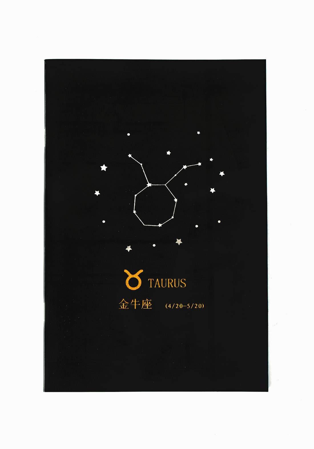 Small Black Drawing Book 24 Sheets-Taurus دفتر رسم اسود صغير بطبعة برج الثور