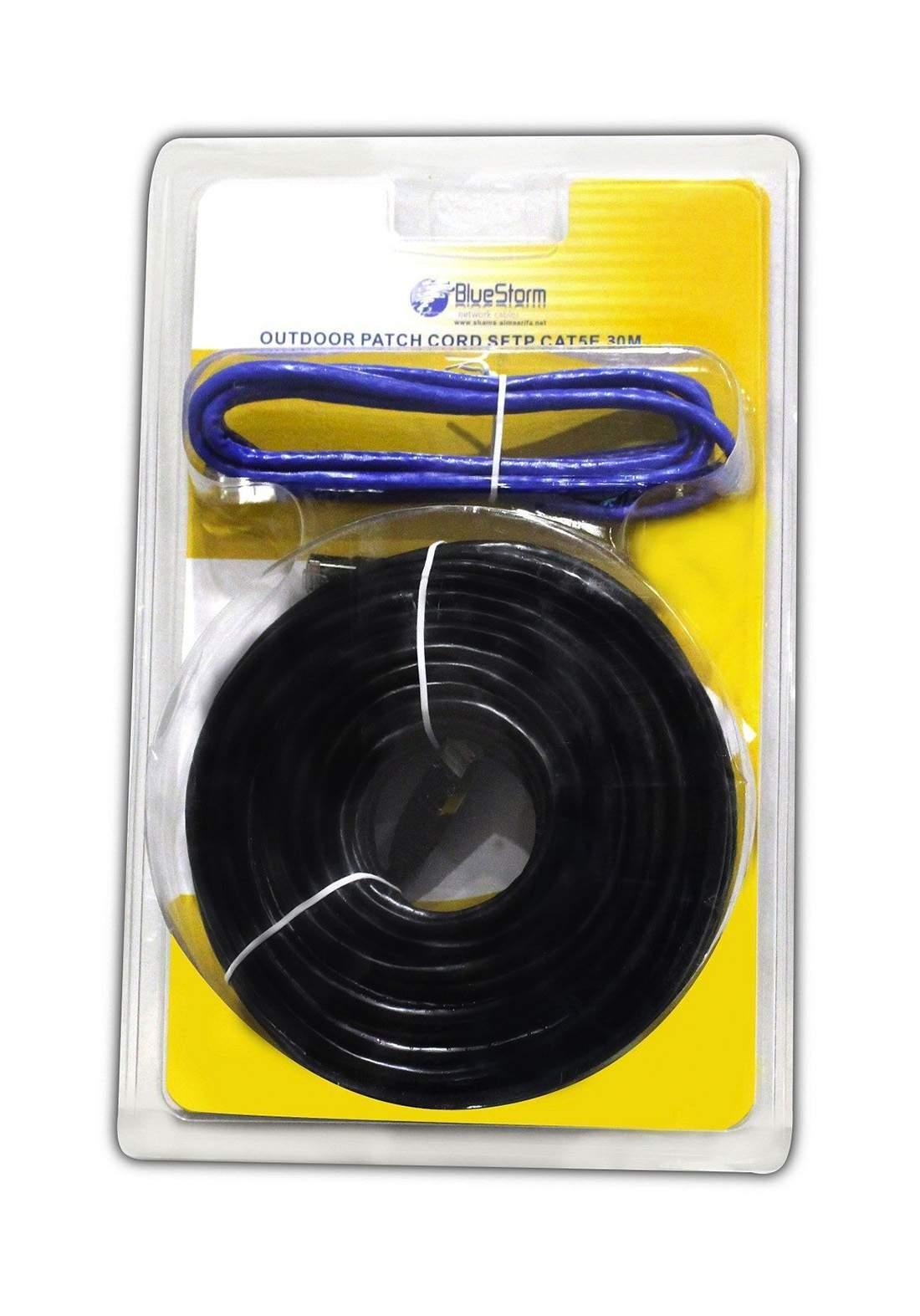 Blue Storm Cat5e SFTP Cable 30m - Black كابل