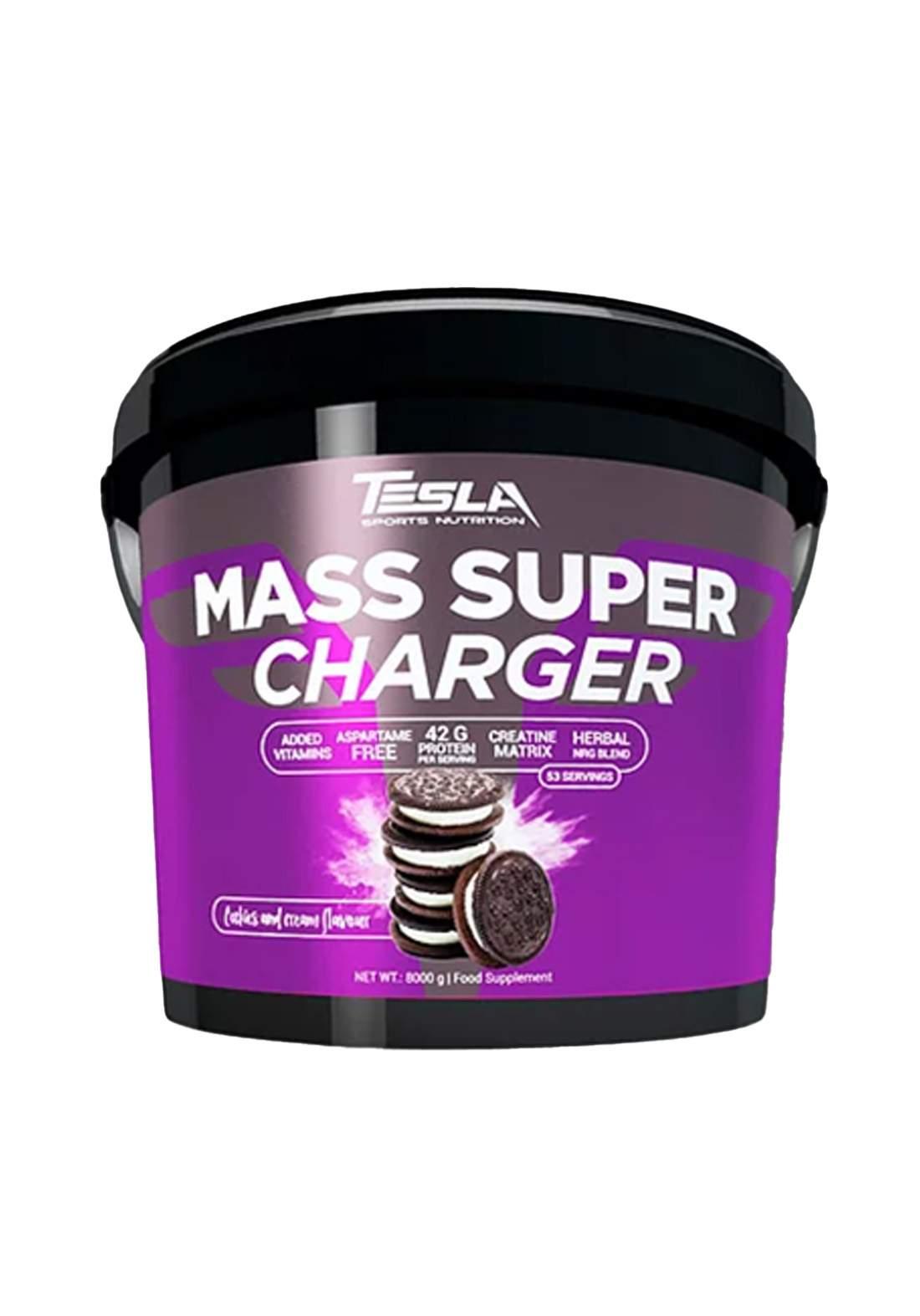 Tesla Mass Supercharger Cockies And Cream Flavor 8kg  مكمل غذائي بنكهة الكعك والكريمة