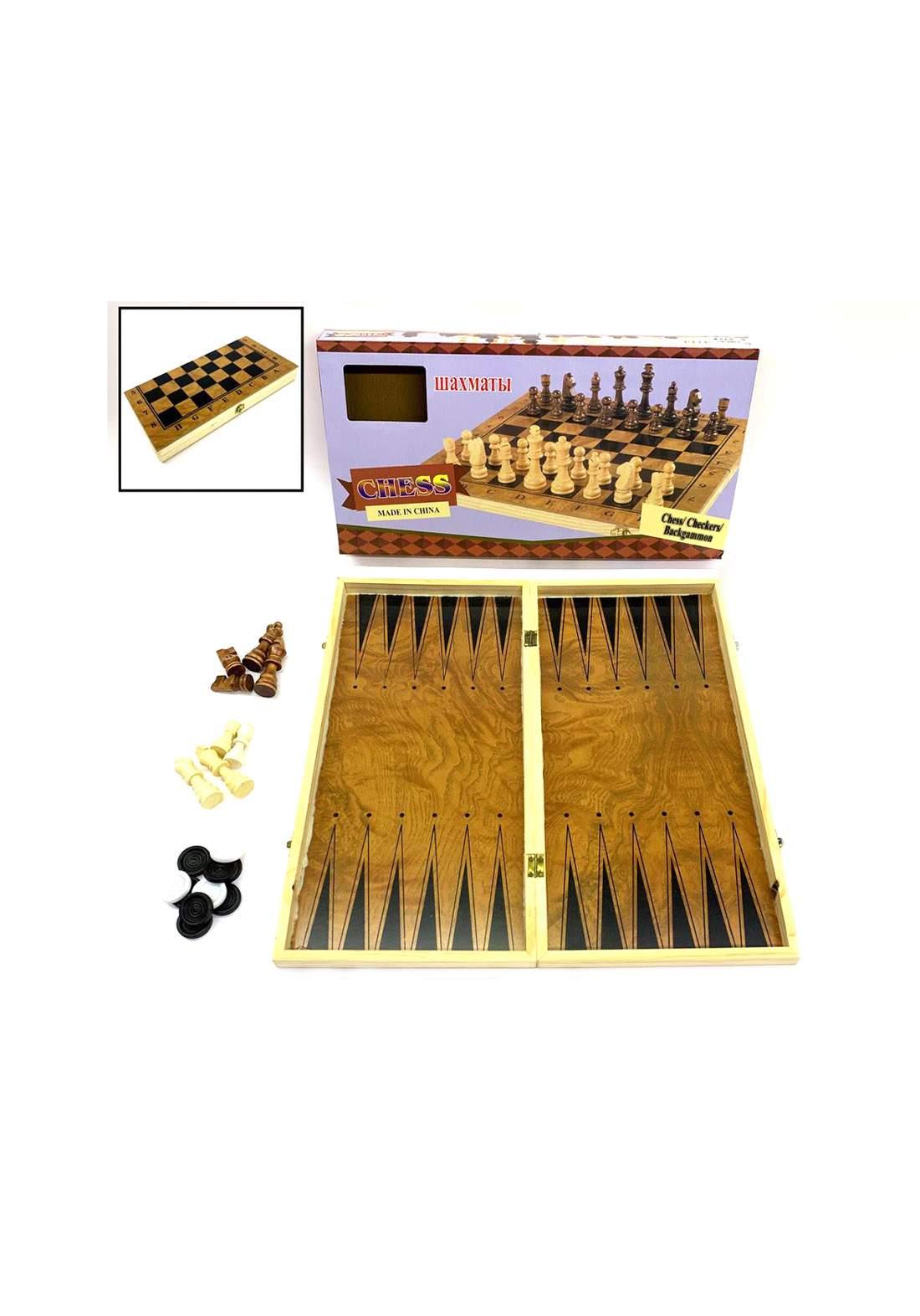 Wooden Chess لعبة طاولة 3 في 1