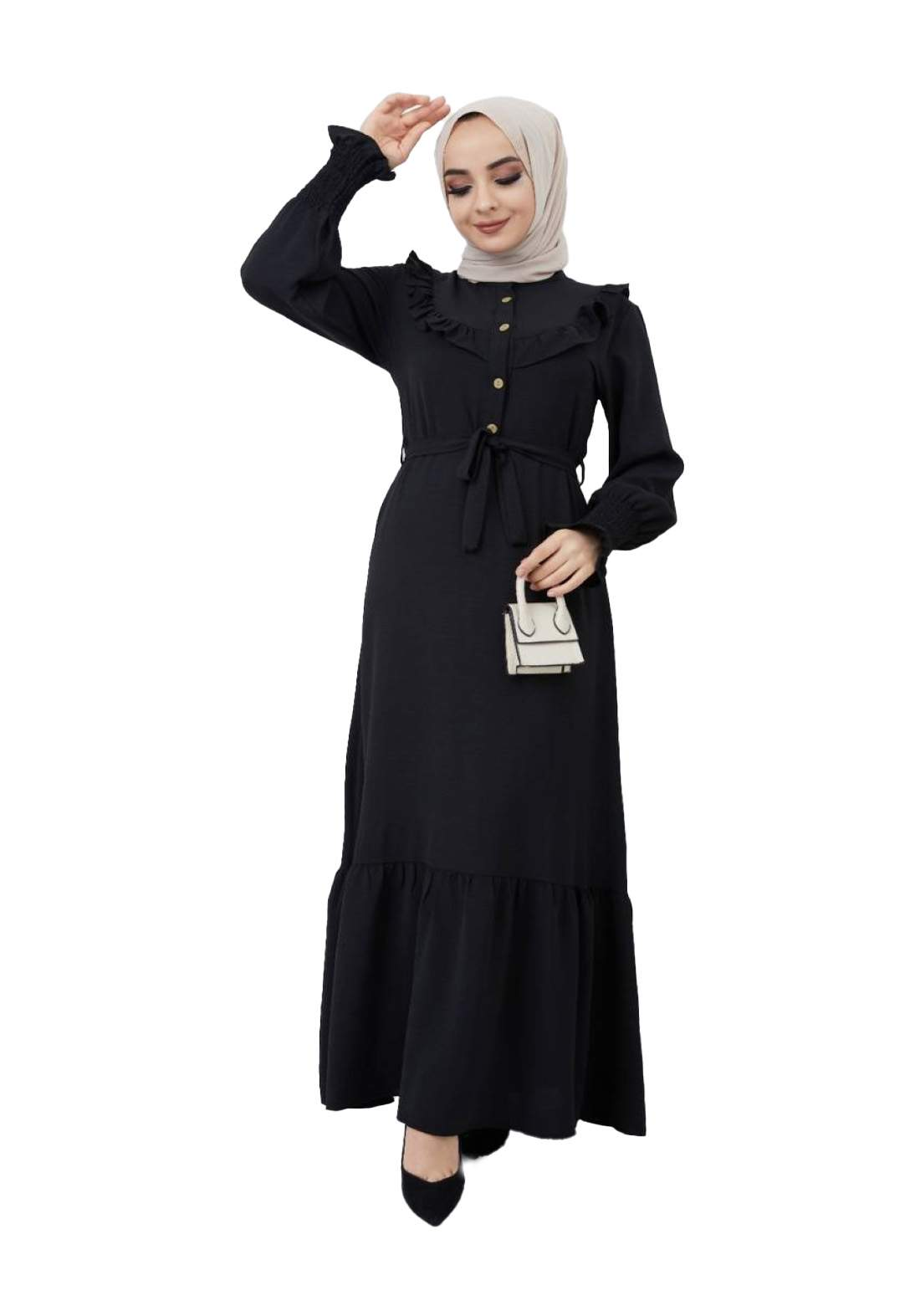 فستان نسائي اسود اللون