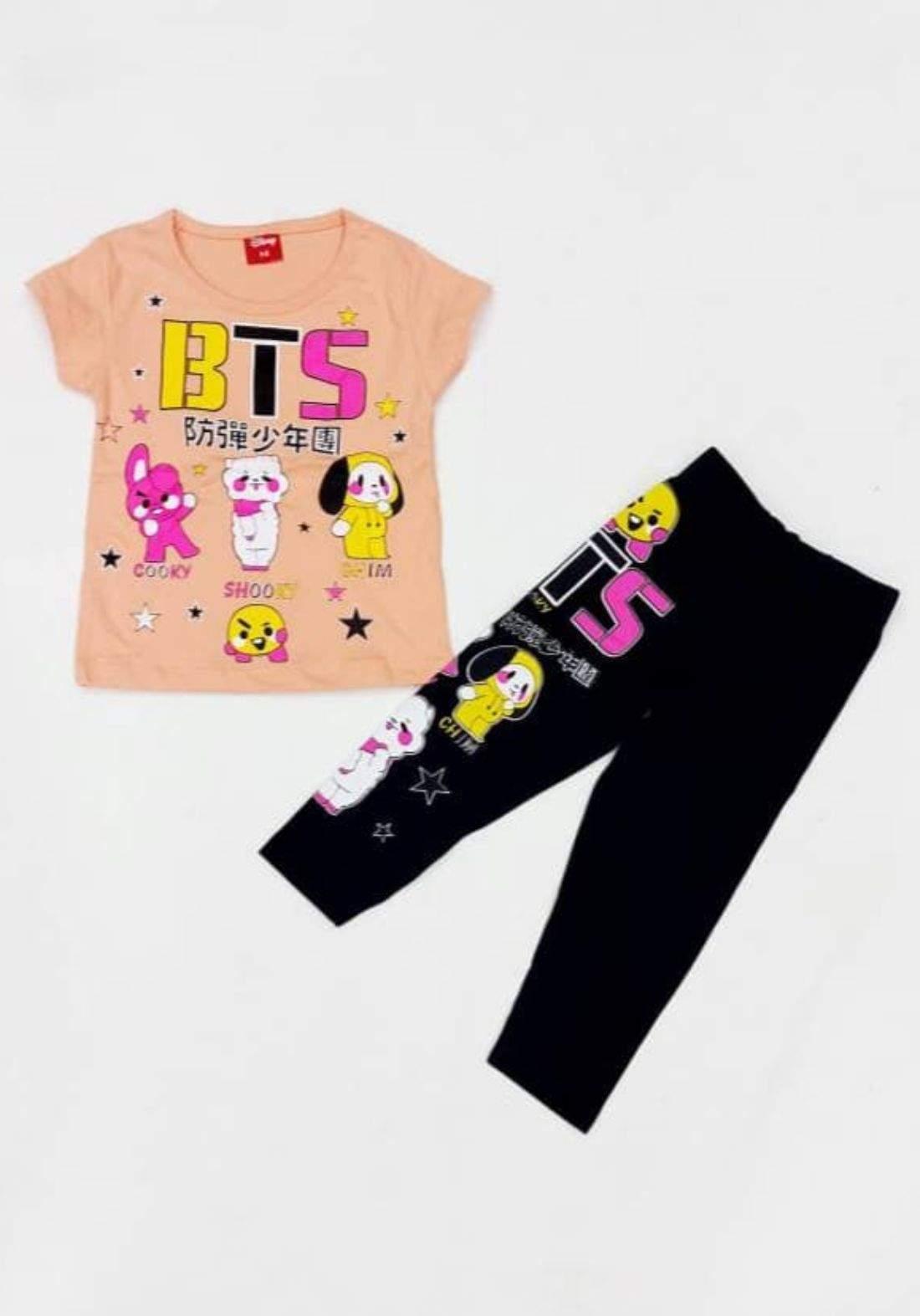 Tracksuit for girls orange (t-shirt+pijamas) تراكسوت بناتي برتقالي (بجامة+تيشيرت)