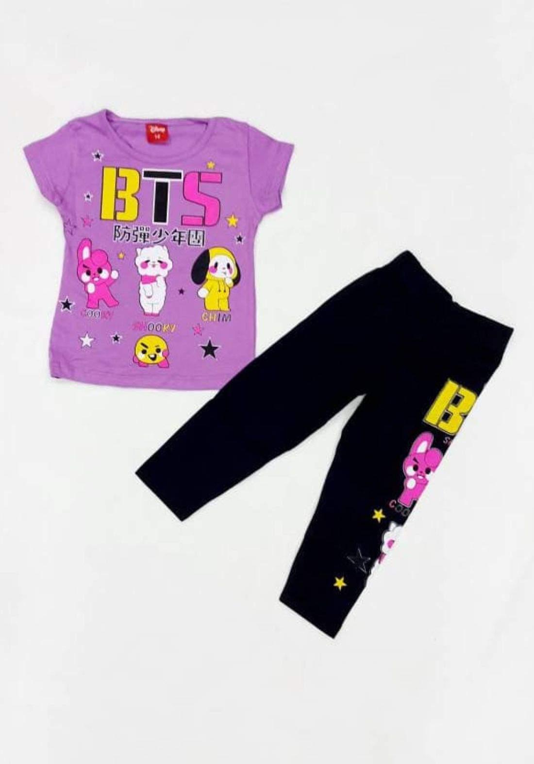 Tracksuit for girls Purpl  (t-shirt+pijamas) تراكسوت بناتي بنفسجي (بجامة+تيشيرت)