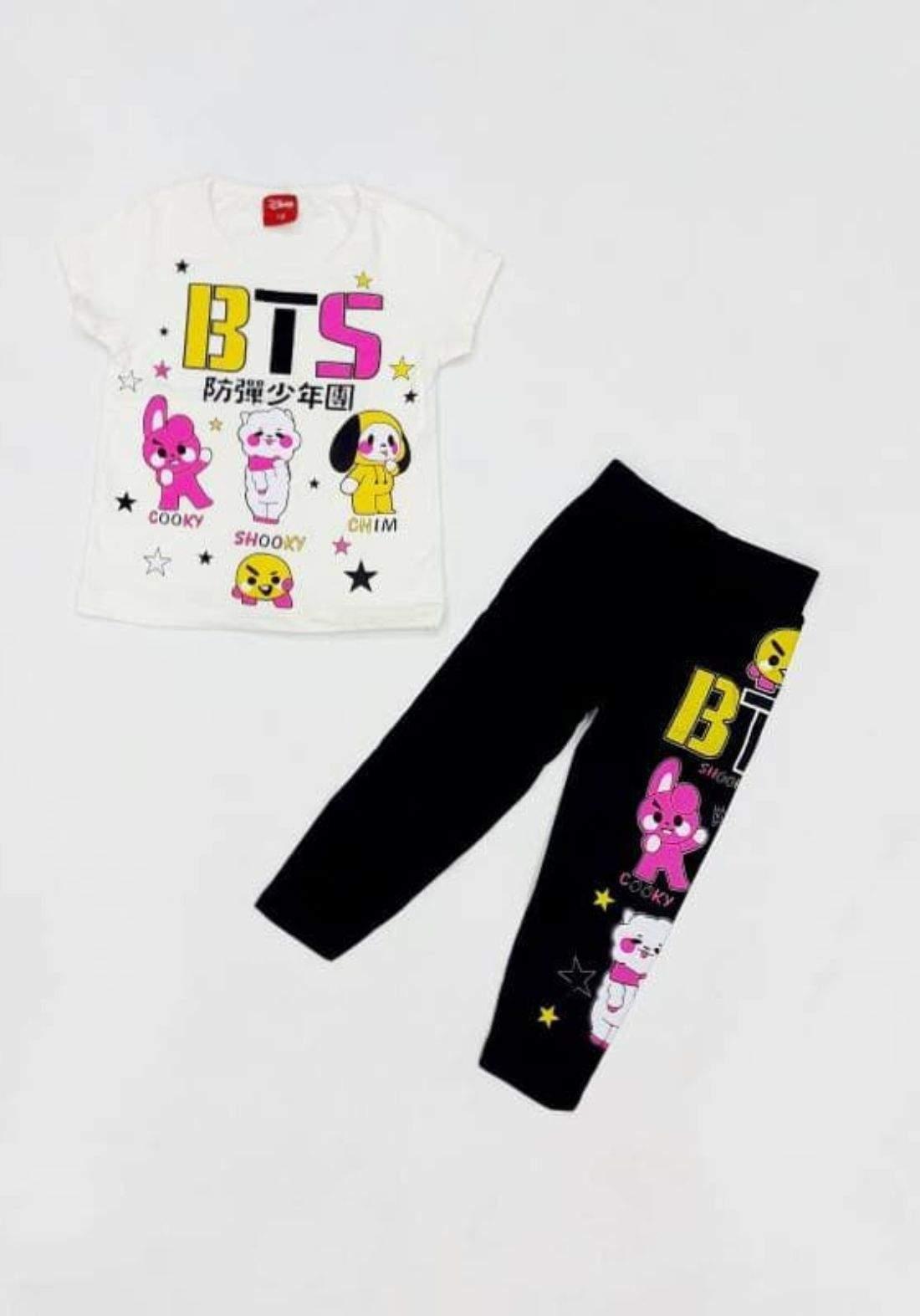 Tracksuit for girls white  (t-shirt+pijamas) تراكسوت بناتي ابيض (بجامة+تيشيرت)