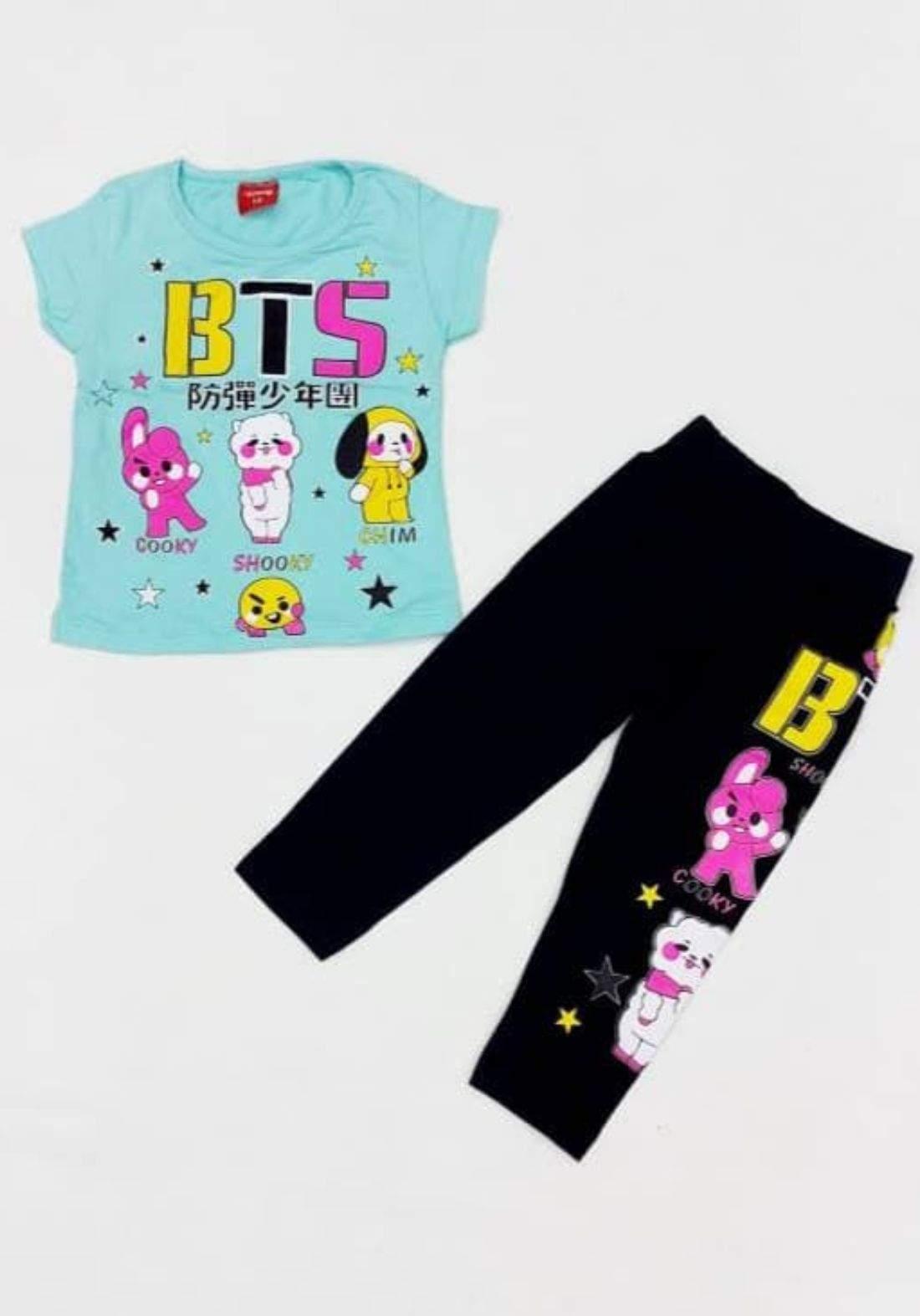 Tracksuit for girls green (t-shirt+pijamas) تراكسوت بناتي تركوازي (بجامة+تيشيرت)